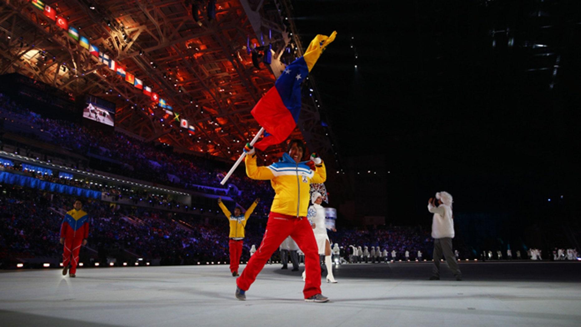 Venezuelan skier Antonio Pardo during the Opening Ceremony of the Sochi 2014 Winter Olympics.