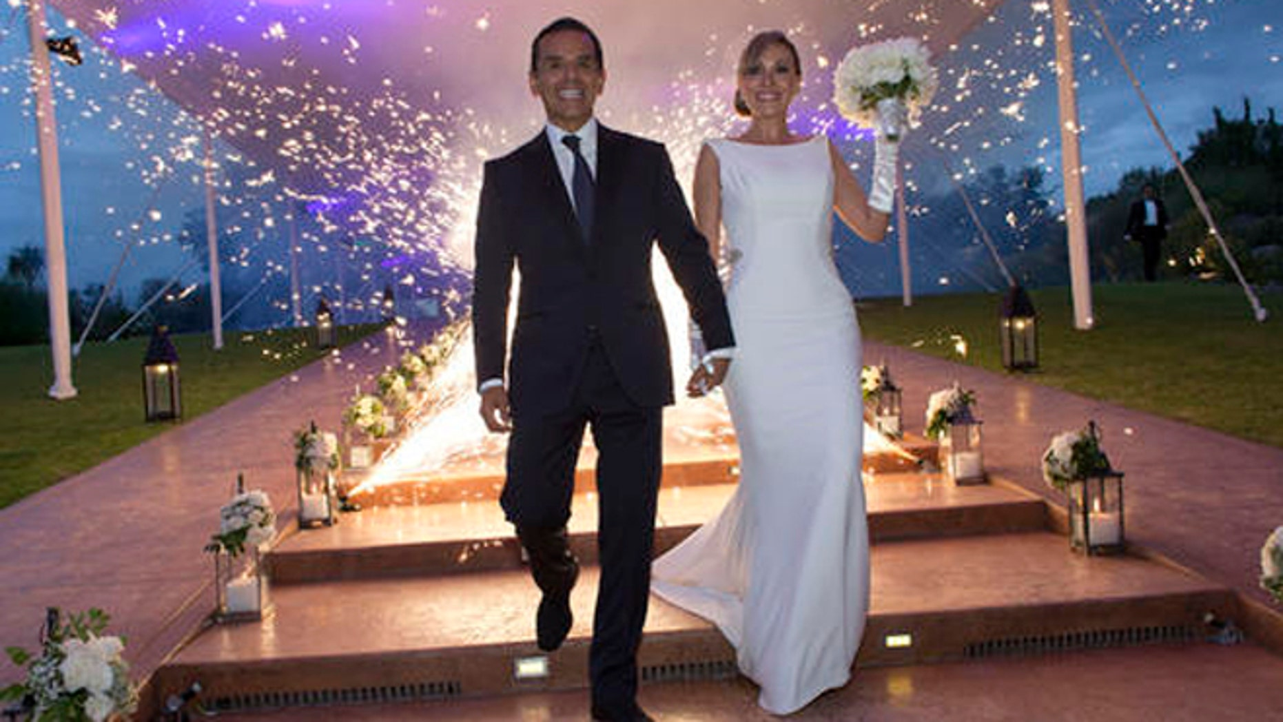 This Saturday, Aug. 6, 2016 photo shows former Mayor of Los Angeles Antonio Villaraigosa during his wedding to Patricia Govea at a private ceremony and reception in San Miguel de Allende, Mexico. Villaraigosa, a potential candidate for governor, tied the knot with Govea in a ceremony in central Mexico, with about 100 friends and family in attendance. (Armando Arorizo/WeddingVignette.com via AP)