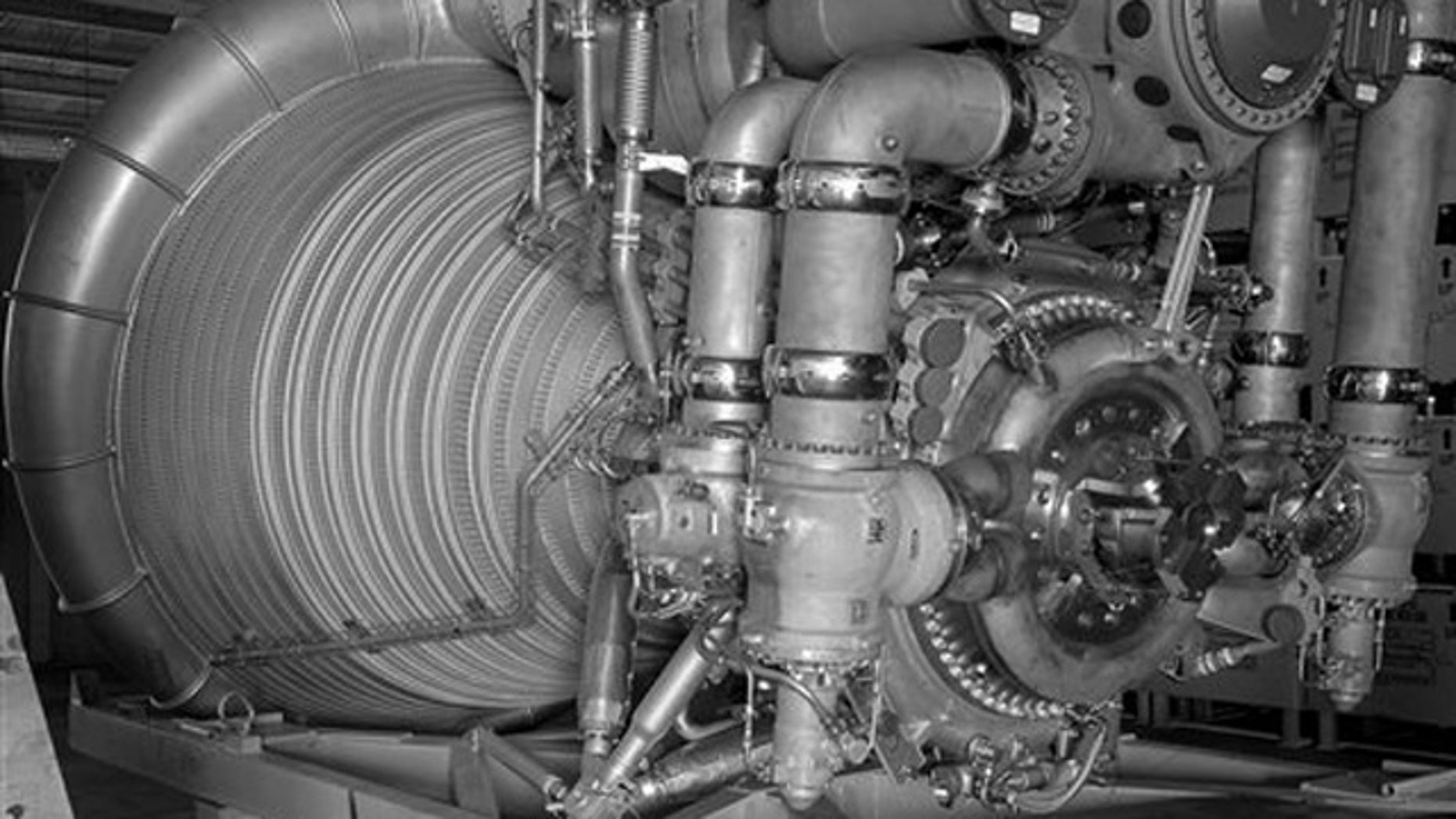 FILE: This 1963 photo provided by NASA shows an F-1 Engine for the Saturn V S-IC (first) stage at Marshall Space Flight Center in Huntsville, Ala.