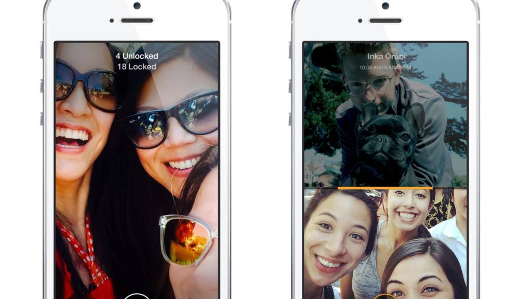 This combo made from images provided by Facebook shows the company's Slingshot app.