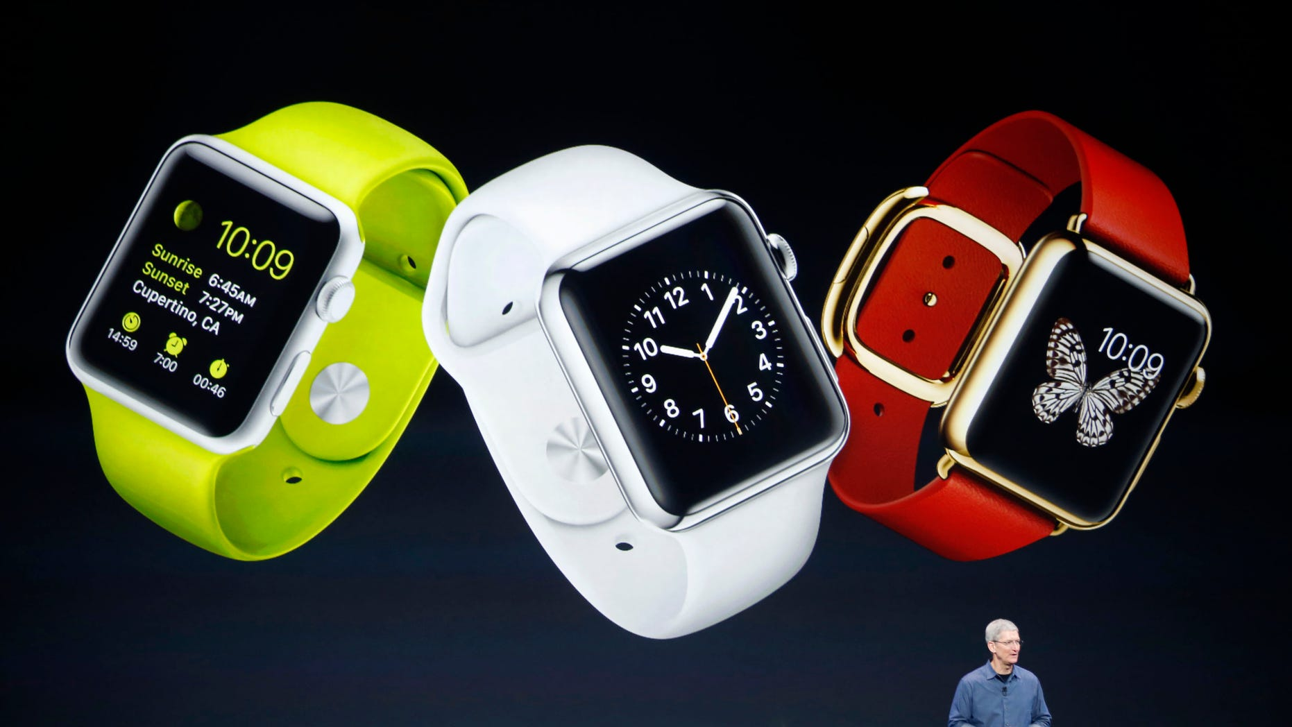 Sept. 6, 2014: Apple CEO Tim Cook speaks about the Apple Watch during an Apple event at the Flint Center in Cupertino, California.