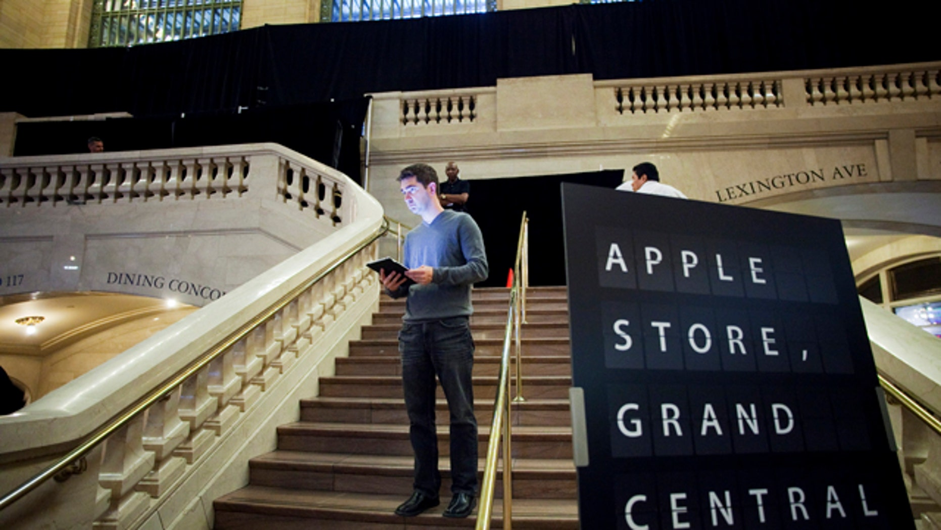 Dec. 6, 2011: Black curtains obscure the Apple Store in Grand Central Terminal in New York a day before the store's grand opening Friday, Dec. 9.