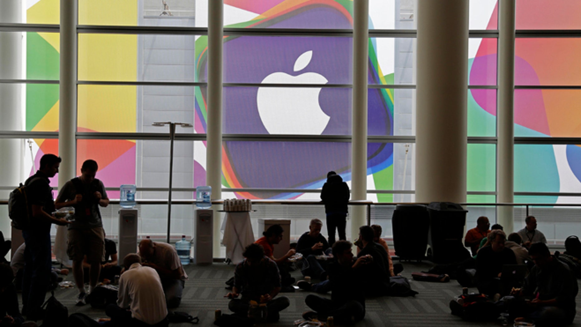 June 10, 2013: Attendees break for lunch at the Apple Worldwide Developers Conference in San Francisco.