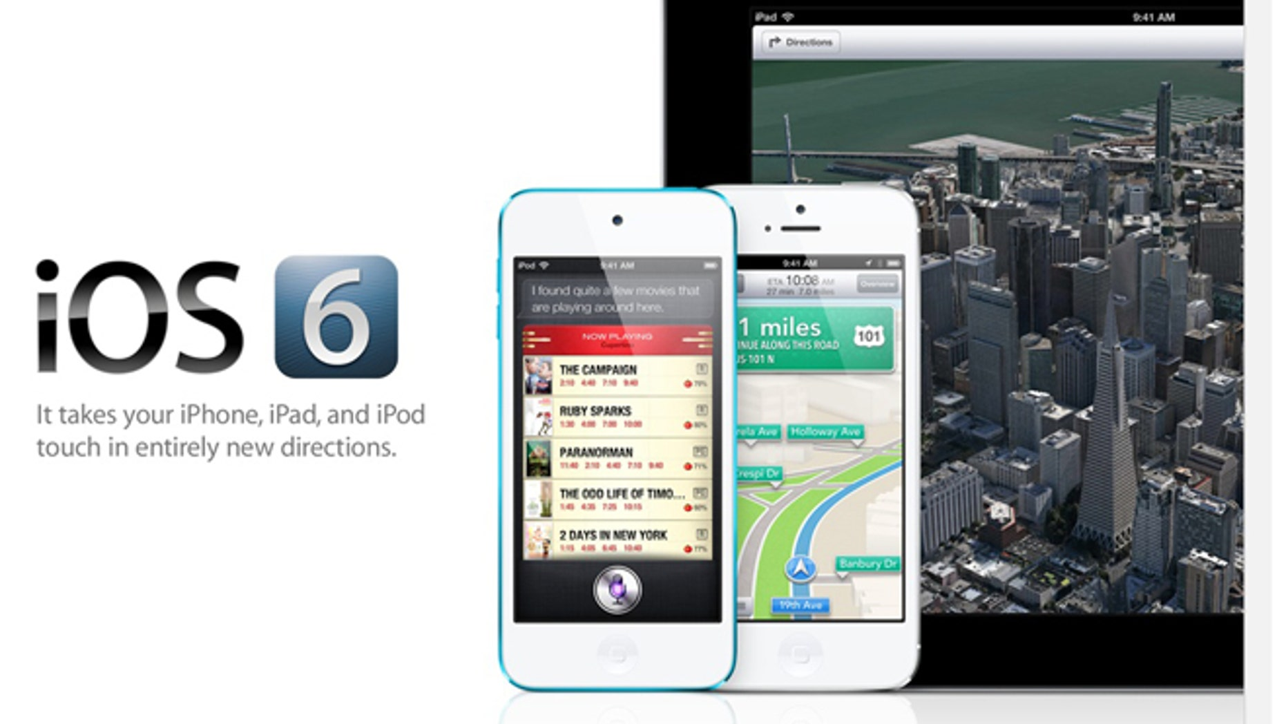 A screenshot of Apple's website offers a look at iOS 6, the latest software powering the company's iPhone, iPad, and iPod touch gadgets.