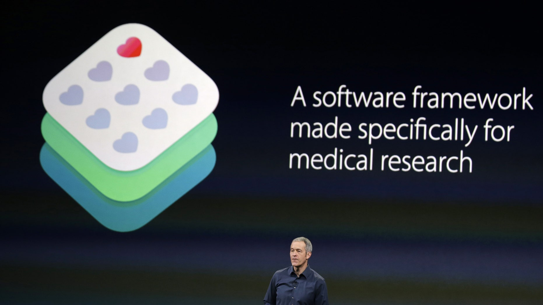 Apple Vice President of Operations, Jeff Williams, discusses ResearchKit during an Apple event on Monday, March 9, 2015.