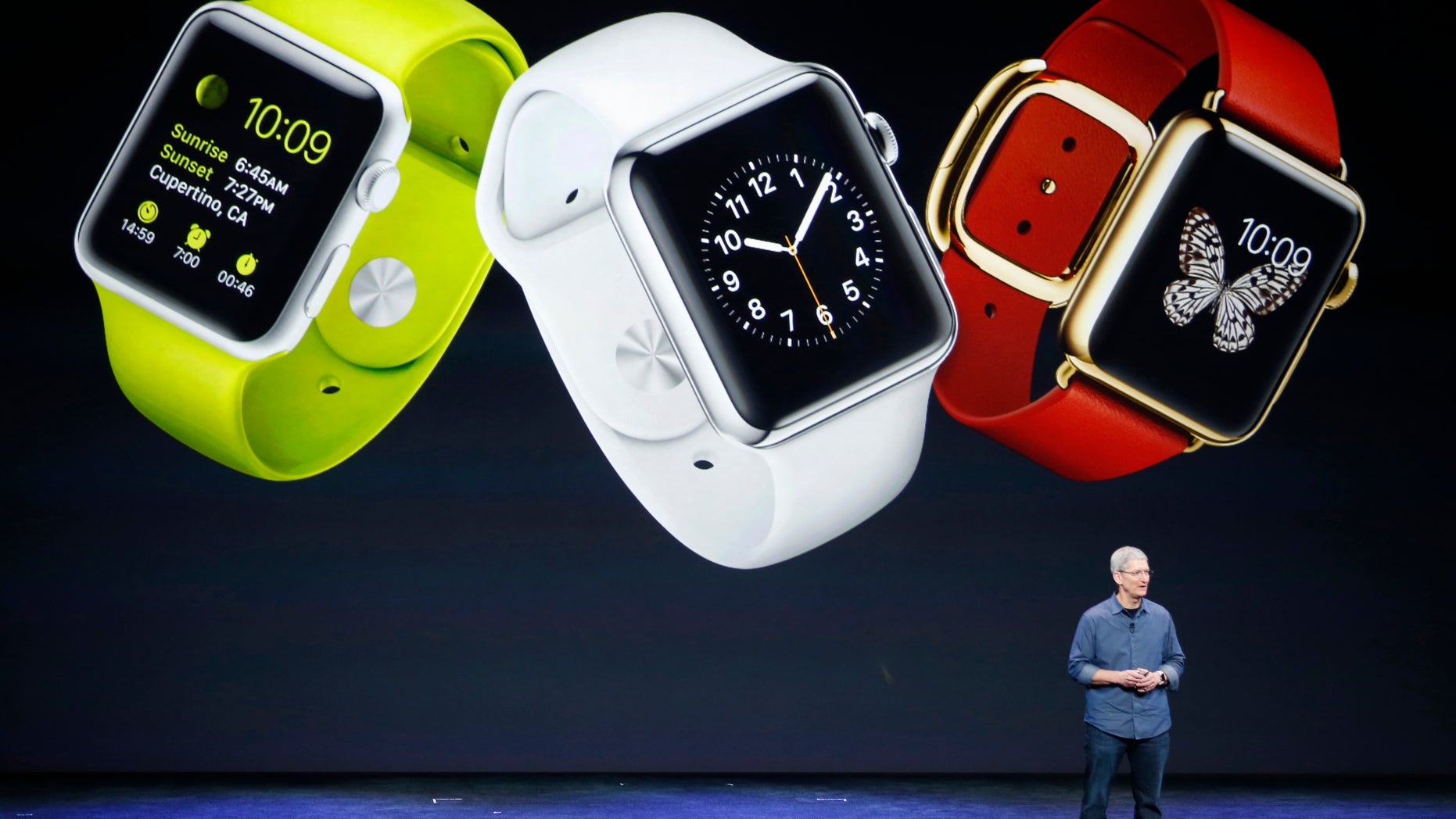 Apple CEO Tim Cook speaks about the Apple Watch during an Apple event at the Flint Center in Cupertino, California, September 9, 2014. REUTERS/Stephen Lam (United States - Tags: SCIENCE TECHNOLOGY BUSINESS TPX IMAGES OF THE DAY) - RTR45KRM