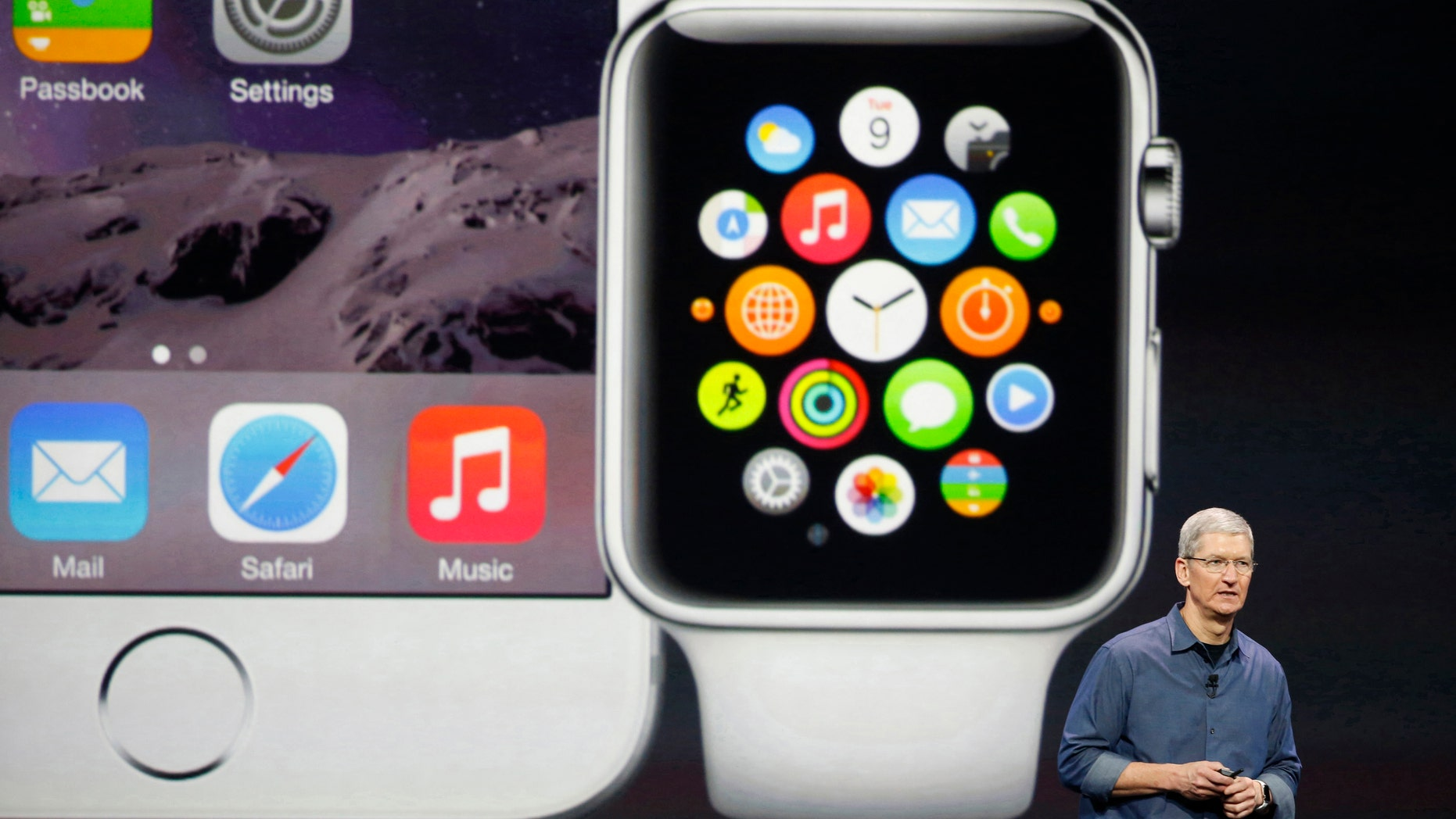 Apple CEO Tim Cook speaks during an Apple event announcing the iPhone 6 and the Apple Watch at the Flint Center in Cupertino, Calif., Sep. 9, 2014.
