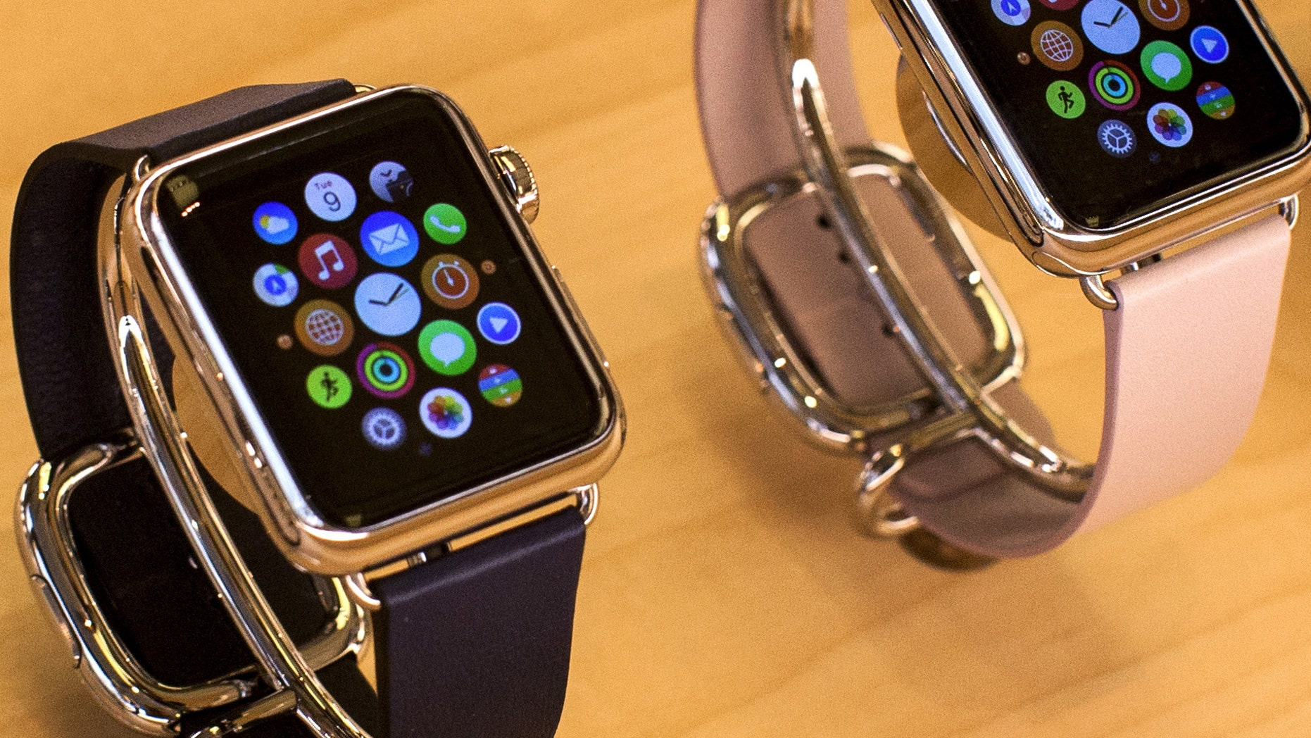 Apple Watches are seen on display at the Apple store on 5th Avenue in the Manhattan borough of New York City, July 21, 2015.