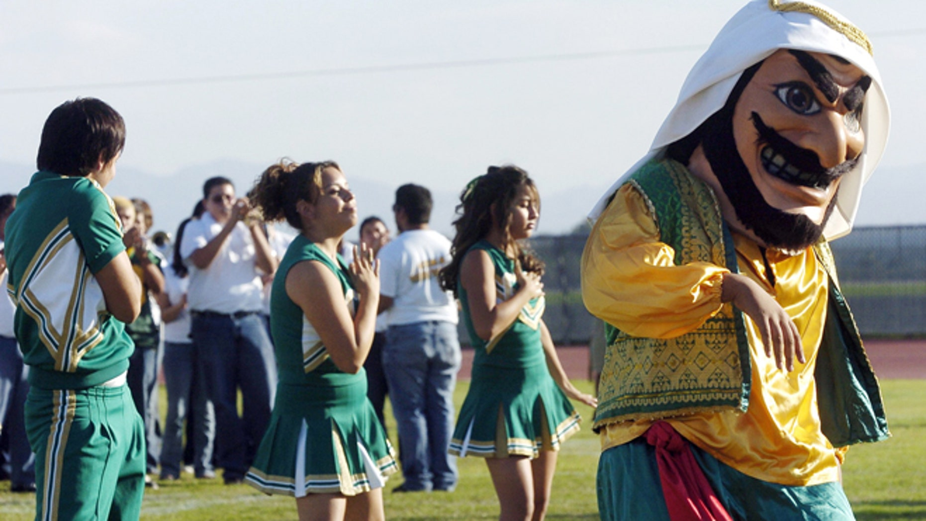 FILE 2005: Coachella Valley High School's mascot dances to the band during a pep rally at the school in Thermal, Calif.