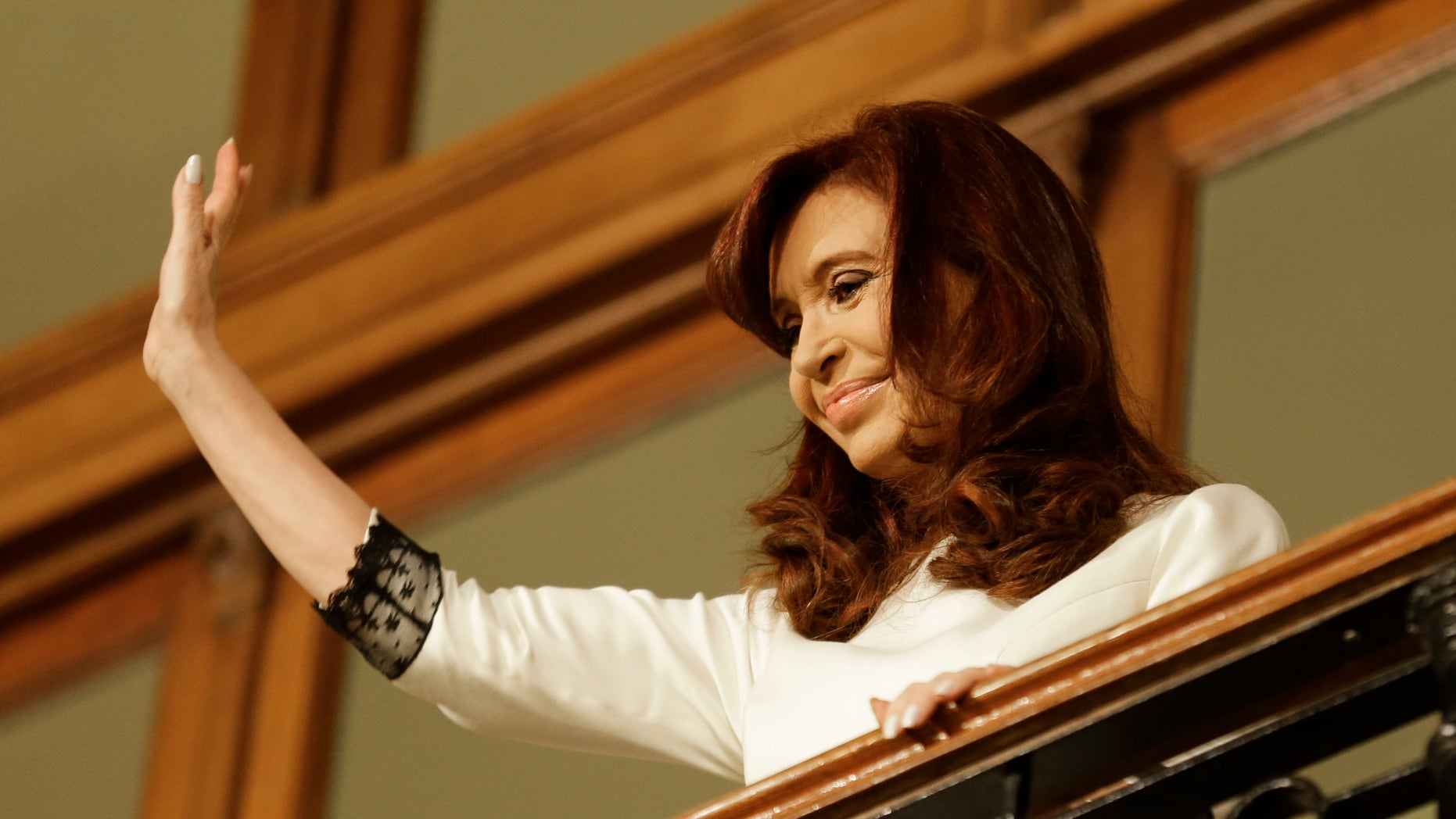 July 31, 2014 - FILE photo of Argentine President Cristina Fernandez after giving a second speech at Casa Rosada Presidential Palace in Buenos Aires, Argentina. Health officials in Argentina said Sunday that President Fernandez has been hospitalized with an infectious fever.