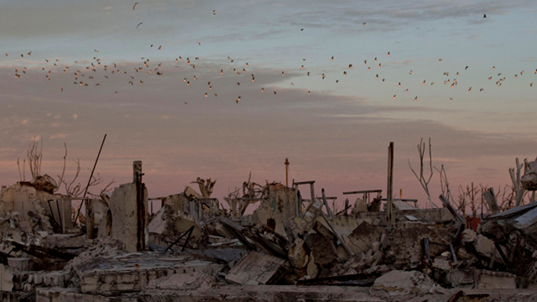 May 7, 2013: Birds fly over the village of Epecuen, Argentina.