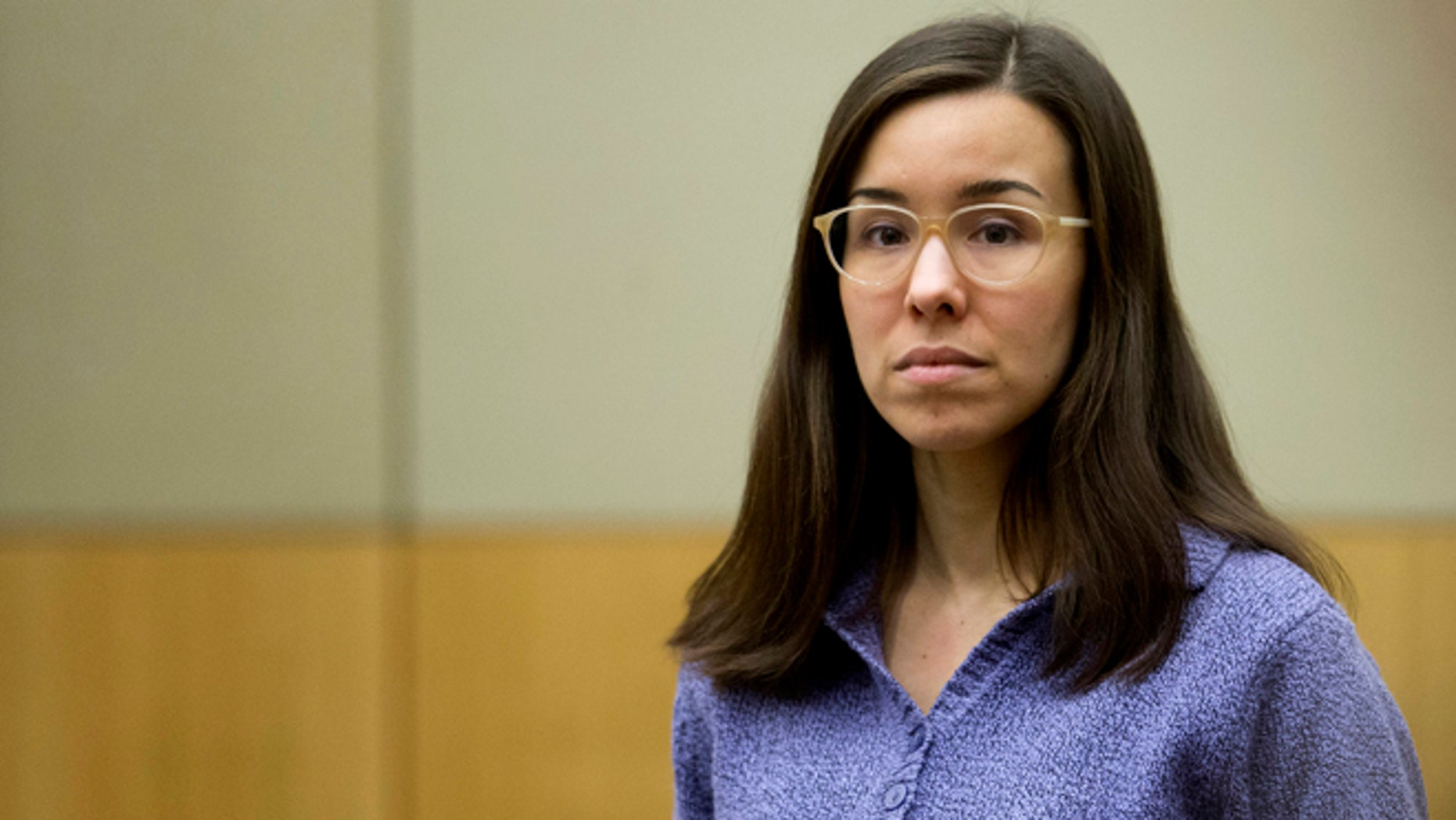 --FILE--In this Thursday, Feb. 12, 2015, file photo, Jodi Arias stands for the jury during her sentencing retrial at Maricopa County Superior Court, in Phoenix. Arias was spared the death penalty Thursday after jurors deadlocked on her punishment for killing her lover in 2008, meaning her sentence will be at most life in prison.(AP Photo/The Arizona Republic, Cheryl Evans, Pool)