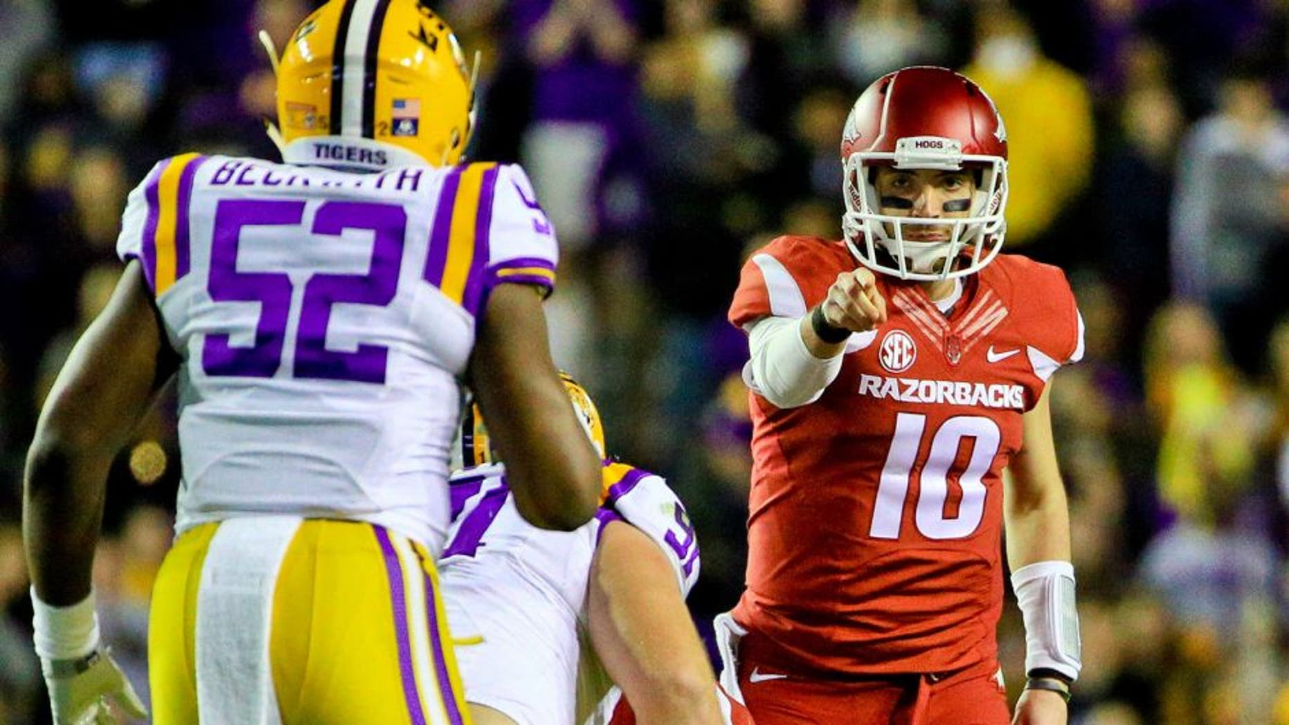 Nov 14, 2015; Baton Rouge, LA, USA; Arkansas Razorbacks quarterback Brandon Allen (10) against the LSU Tigers during the second quarter of a game at Tiger Stadium. Mandatory Credit: Derick E. Hingle-USA TODAY Sports