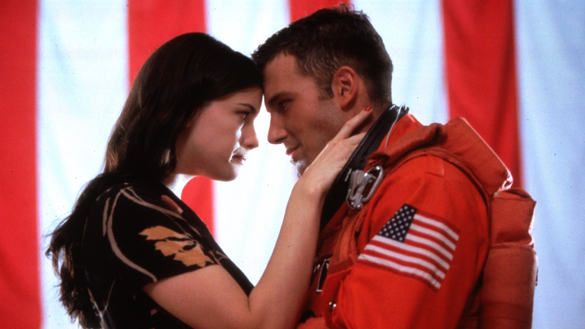 "Actress Liv Tyler stars in a scene with Ben Affleck in ""Armageddon."""