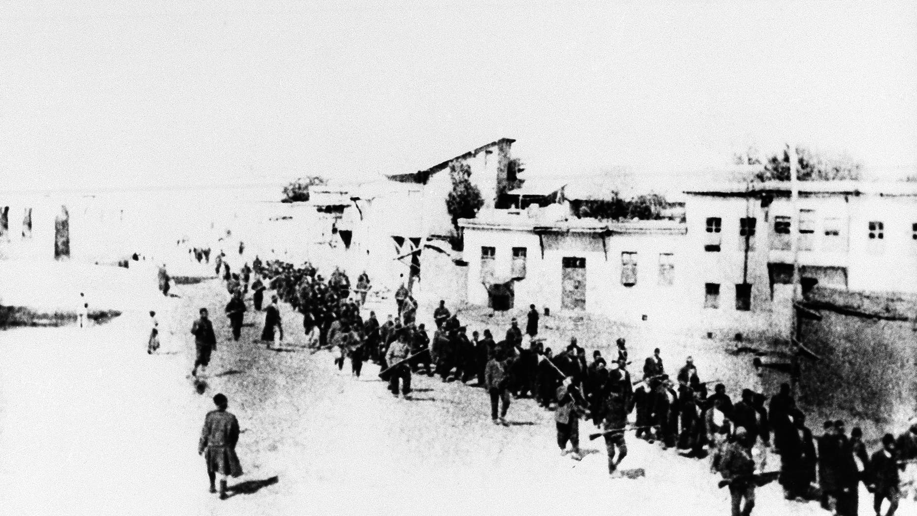 This is the scene in Turkey in 1915 when Armenians were marched long distances and said to have been massacred. (AP)