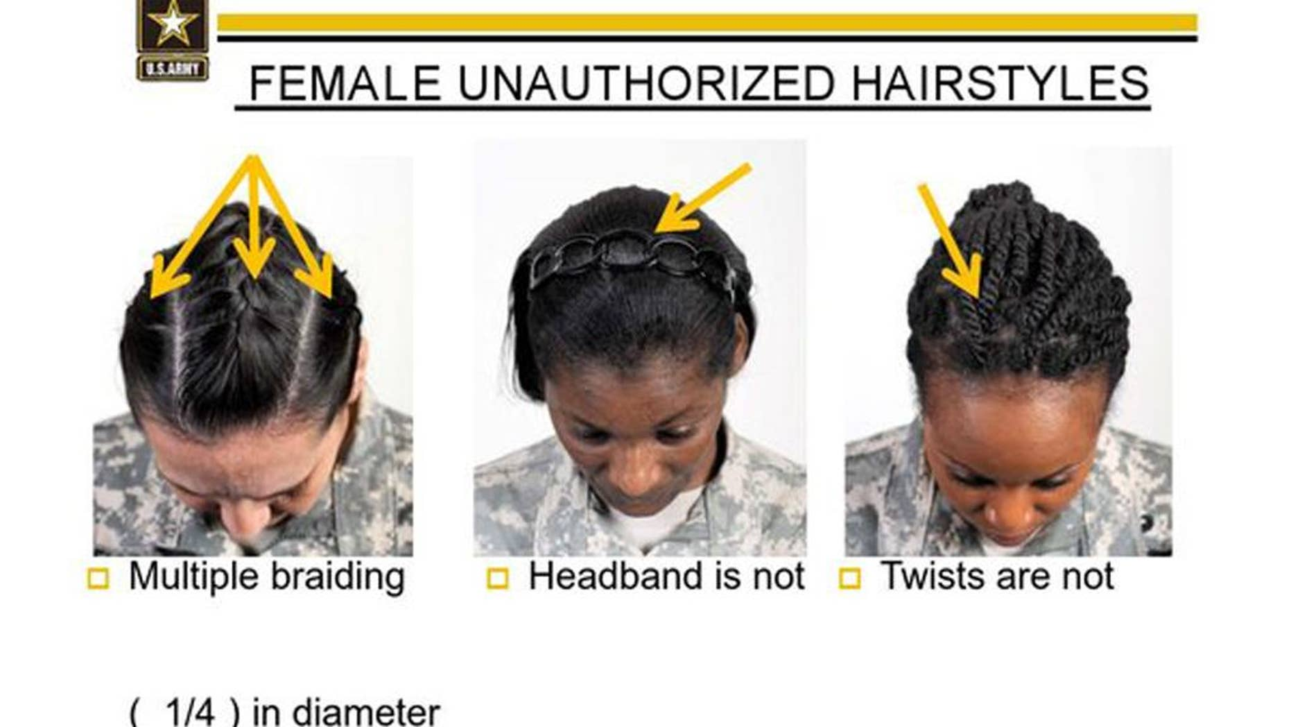 """This undated image provided by the US Army shows new Army grooming regulations for females. New Army regulations meant to help standardized and professionalize soldiers' appearance is now coming under criticism by some black military women, who say changes in the requirement for their hair are racially biased. The Army earlier this week issued new appearance standards, which included bans on most twists, dreadlocks and large cornrows, all styles used predominantly by African-American women with natural hairstyles. More than 11,000 people have signed a White House petition asking President Barack Obama, the commander-in-chief, to have the military review the regulations to allow for """"neat and maintained natural hairstyles."""" (AP Photo/US Army)"""