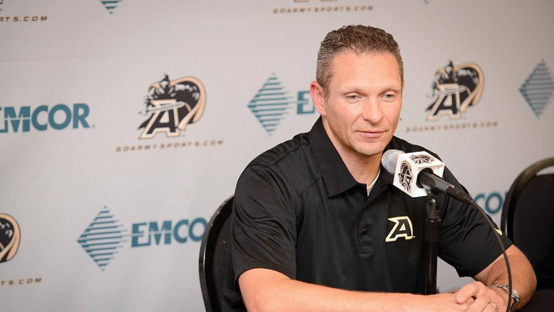 Army football head coach Jeff Monken speaks at a press coference on Tuesday, Oct. 28, 2014, in West Point, N.Y. Monken addressed his team's reported recruiting violations and the upcoming game against Air Force. (AP Photo/Steve Borland)
