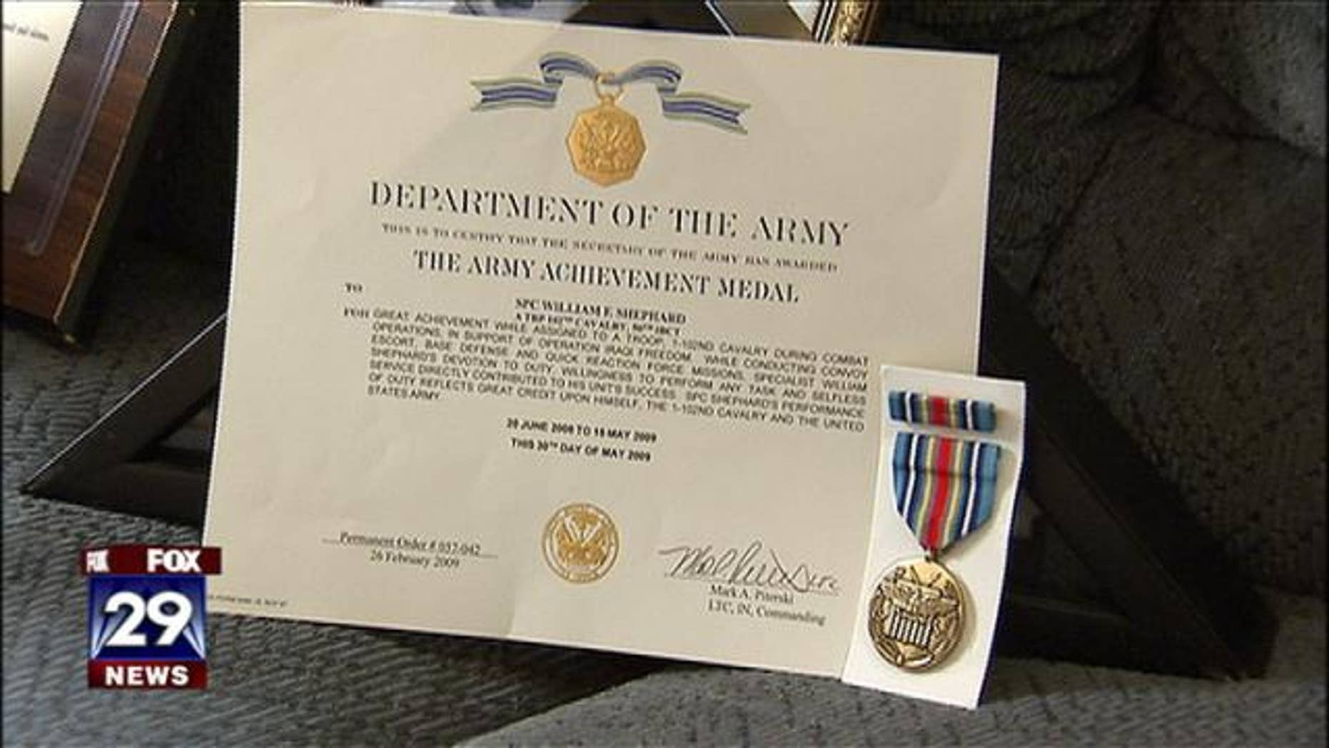Bill Shephard's Army Achievement certificate and medal
