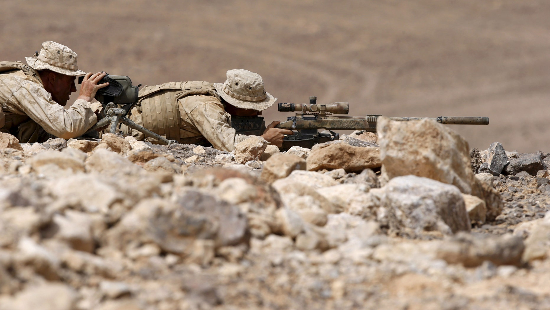 File photo - U.S. soldiers participate in Exercise Eager Lion at the Jordan-Saudi Arabia border, south of Amman May 18, 2015.