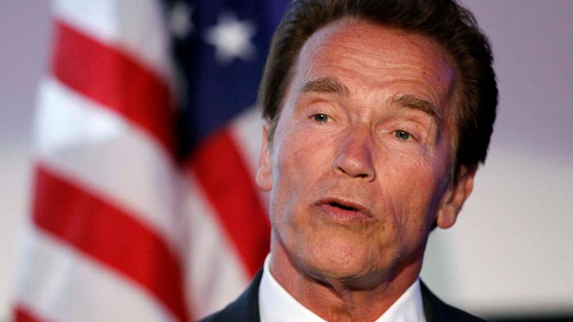 Arnold Schwarzenegger speaks at the Israel 63rd Independence Day Celebration hosted by the Consulate General of Israel in Los Angeles, Tuesday, May 10, 2011. Schwarzenegger was honored at the event. (AP Photo/Matt Sayles)