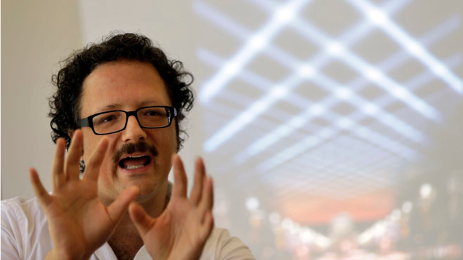 """Aug. 23, 2012: Artist Rafael Lozano-Hemmer discusses his new project titled """"Open Air."""""""