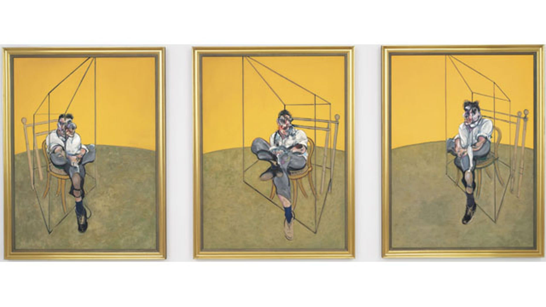 """This undated photo provided by Christie's shows """"Three Studies of Lucian Freud,"""" a triptych by Francis Bacon of his friend and artist Lucian Freud. The painting was sold for $142.4 million to an unidentified buyer Tuesday, making it the most expensive painting ever sold at auction  (AP Photo/Christie's)"""