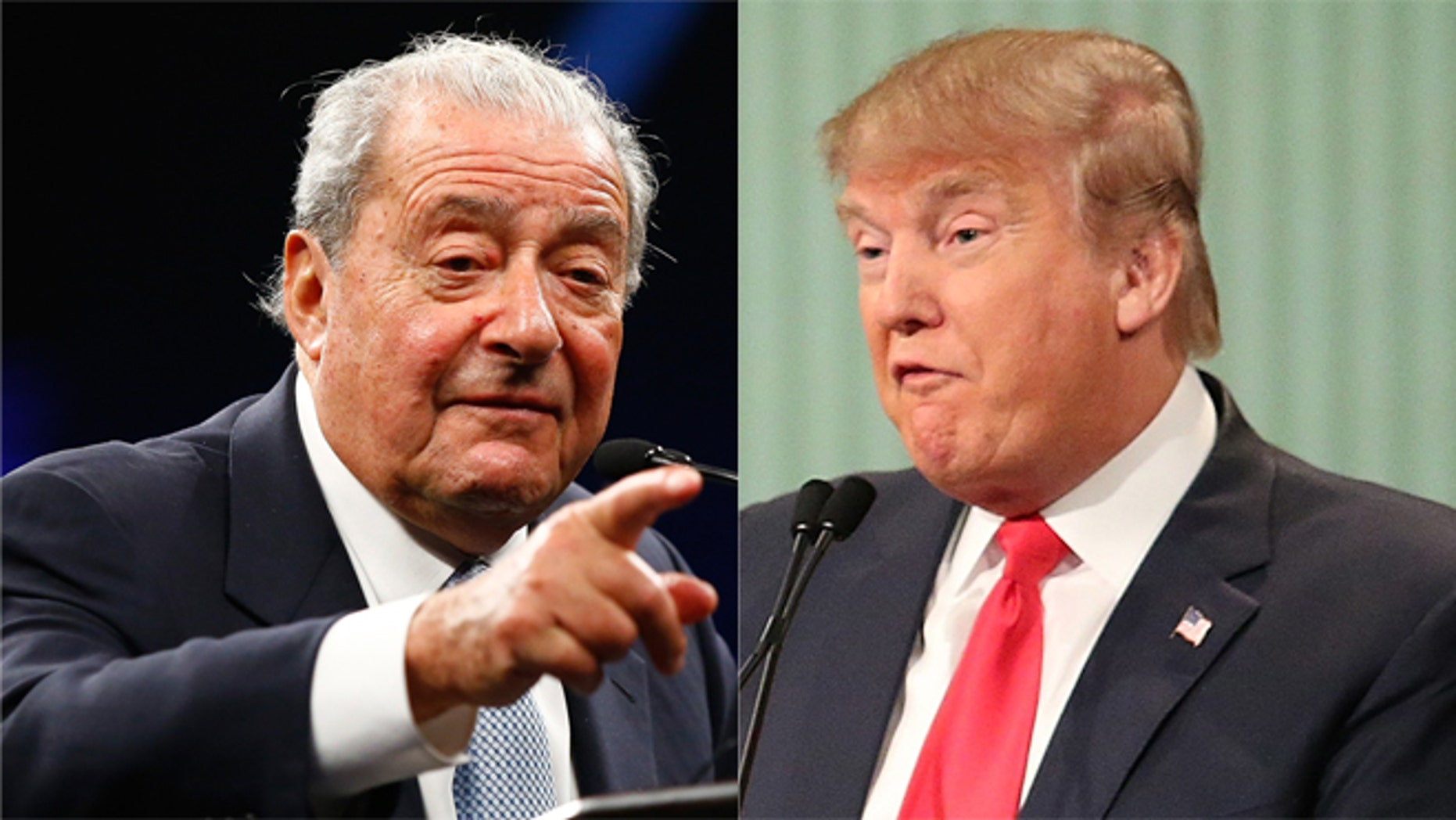 A photo composite of Box promoter Bob Arum and Republican presidential candidate Donald Trump.