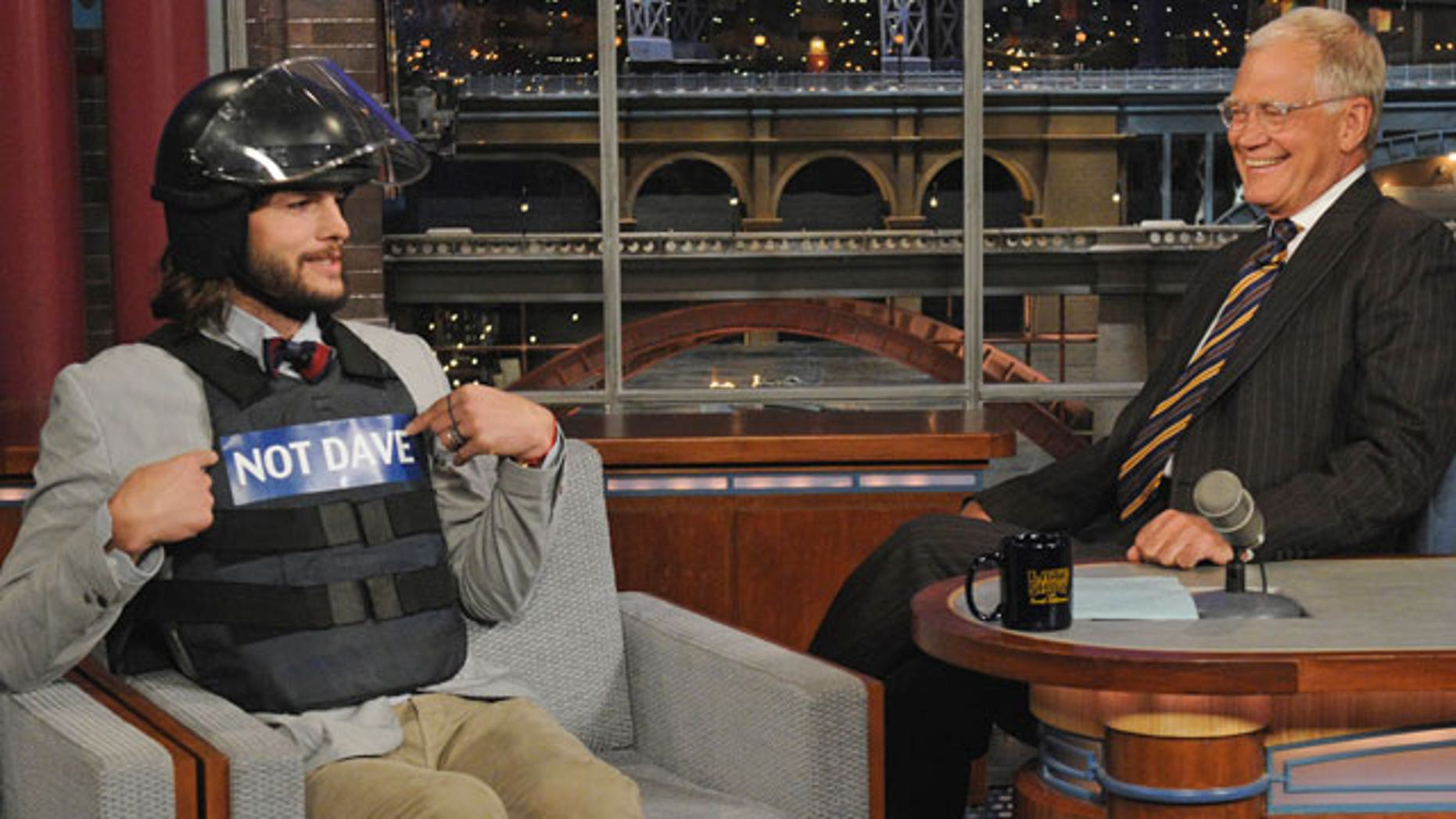 Aug. 24: Aston Kutcher appears on 'The Late Show With David Letterman' (AP)