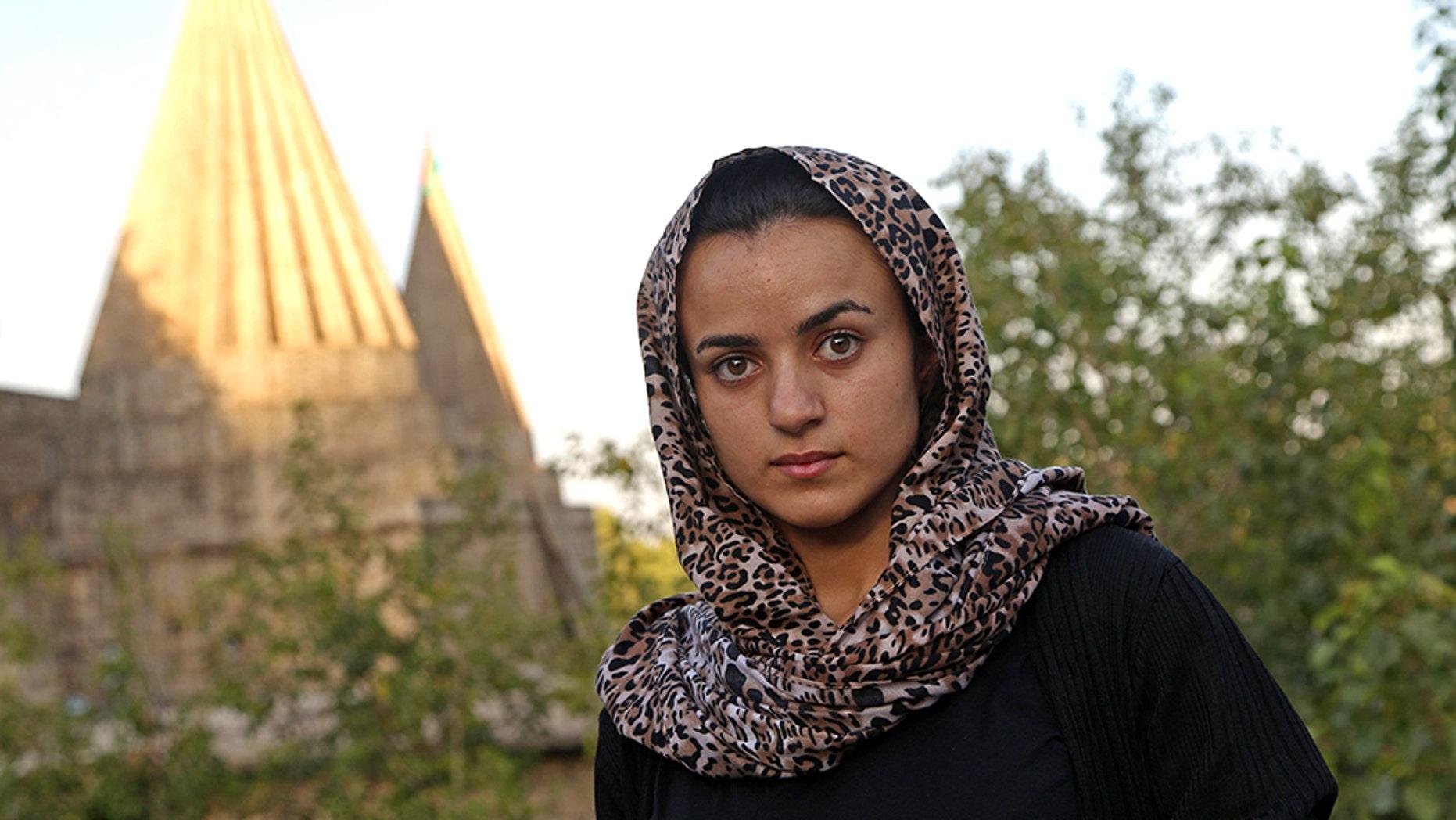 Yazidi woman Ashwaq Haji, allegedly used by the Islamic State group (IS) as
