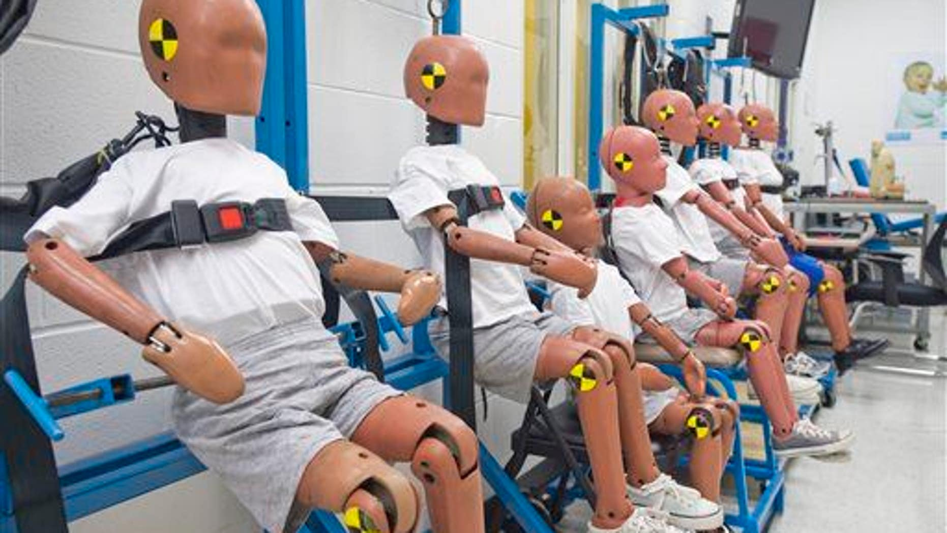 "A ""family"" of test dummies, in this 2014 file photo, at Dorel Juvenile Group in Columbus, Ind., allows technicians to study impact data for various age ranges."