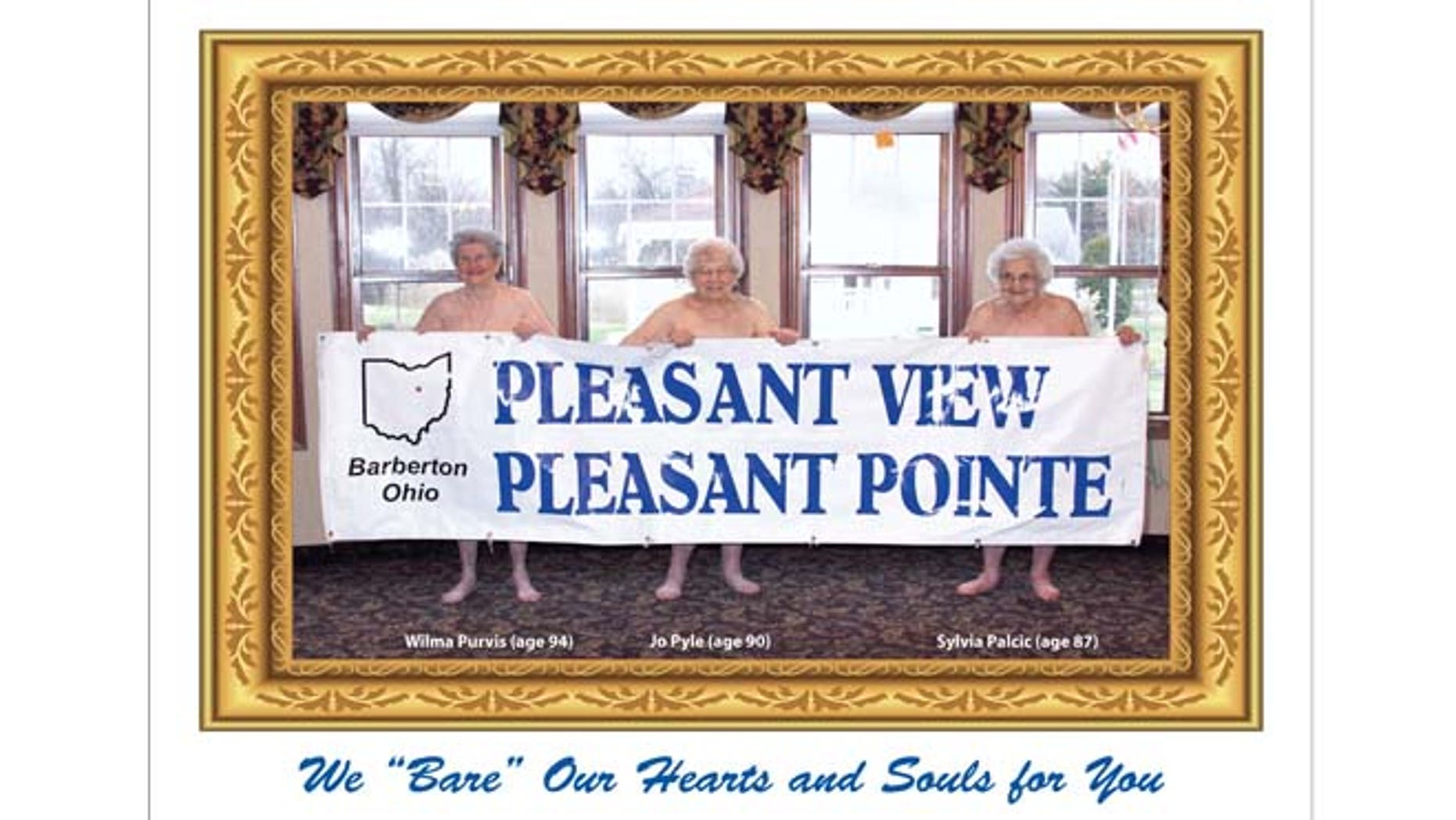 In this undated image provided by Pleasant Pointe Assisted Living, residents, from left, Wilma Purvis, 94, Jo Pyle, 90, and Sylvia Palcic, 87, pose for a photo that appears on the cover of the Barberton, Ohio facility's charity calendar.