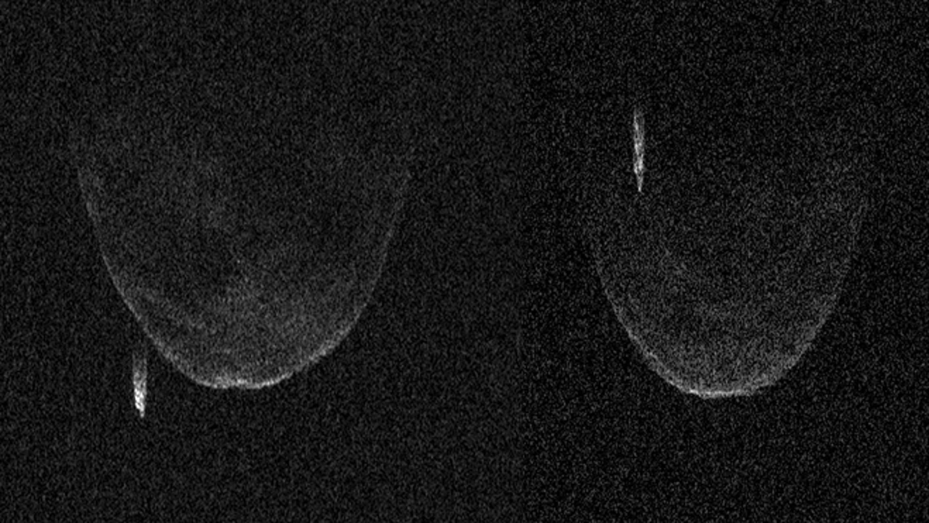 Asteroid pictured from radar image (photo 1 on left) and (photo 2 on right).