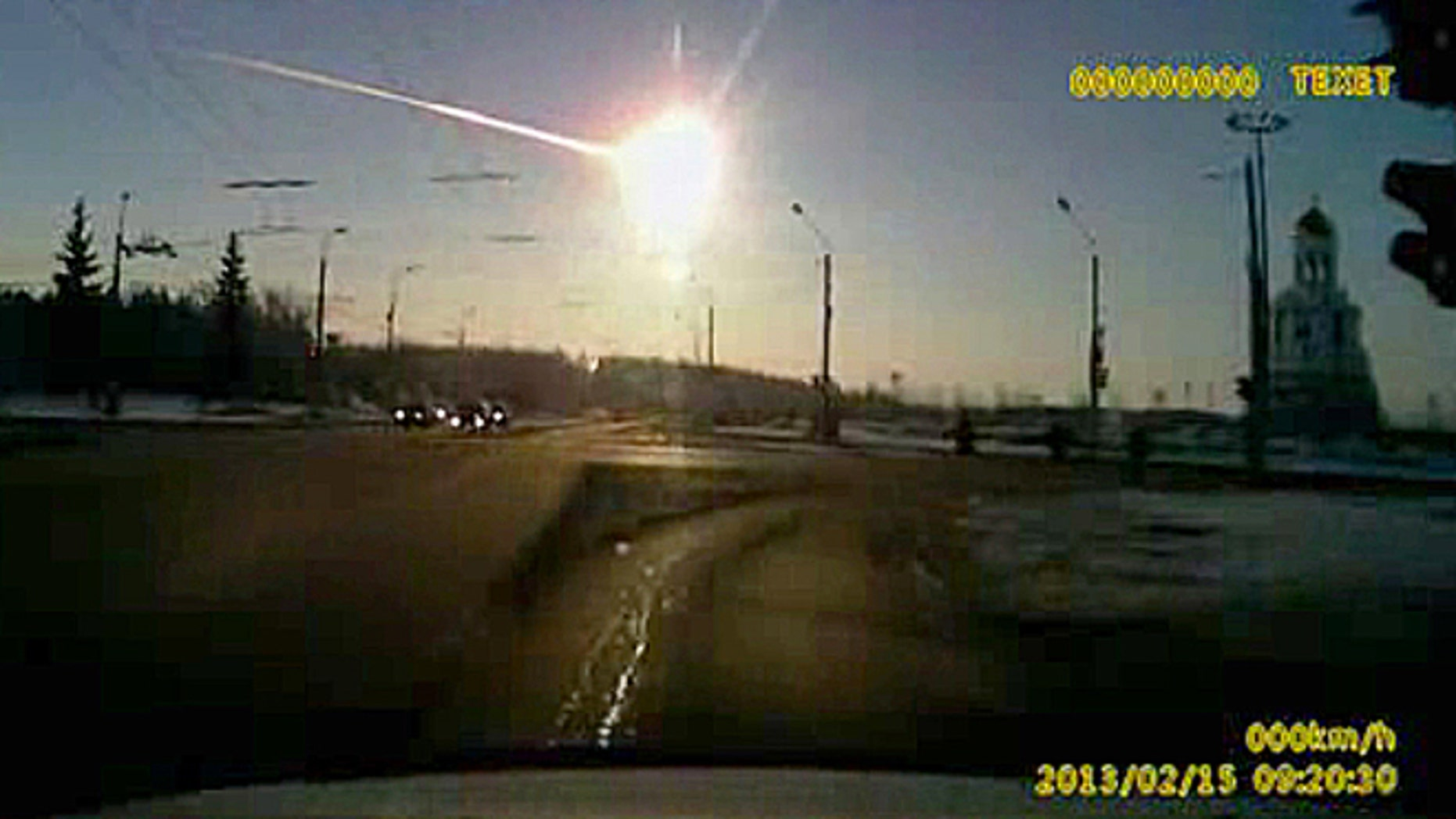 Feb 15, 2013: In this frame grab made from dashboard camera vide shows a meteor streaking through the sky over Chelyabinsk, about 930 miles east of Moscow.