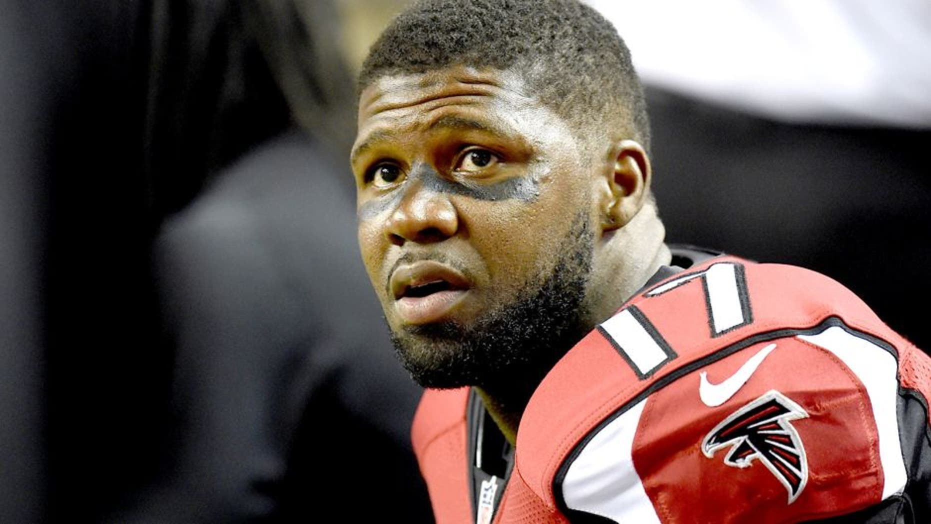 Aug 23, 2014; Atlanta, GA, USA; Atlanta Falcons wide receiver Devin Hester (17) shown on the sideline against the Tennessee Titans during the second half at the Georgia Dome. The Titans defeated the Falcons 24-17. Mandatory Credit: Dale Zanine-USA TODAY Sports
