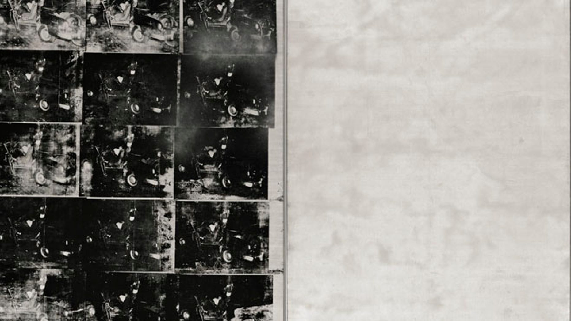 "This file photo provided by Sotheby's shows ""Silver Car Crash (Double Disaster)"" by Andy Warhol."