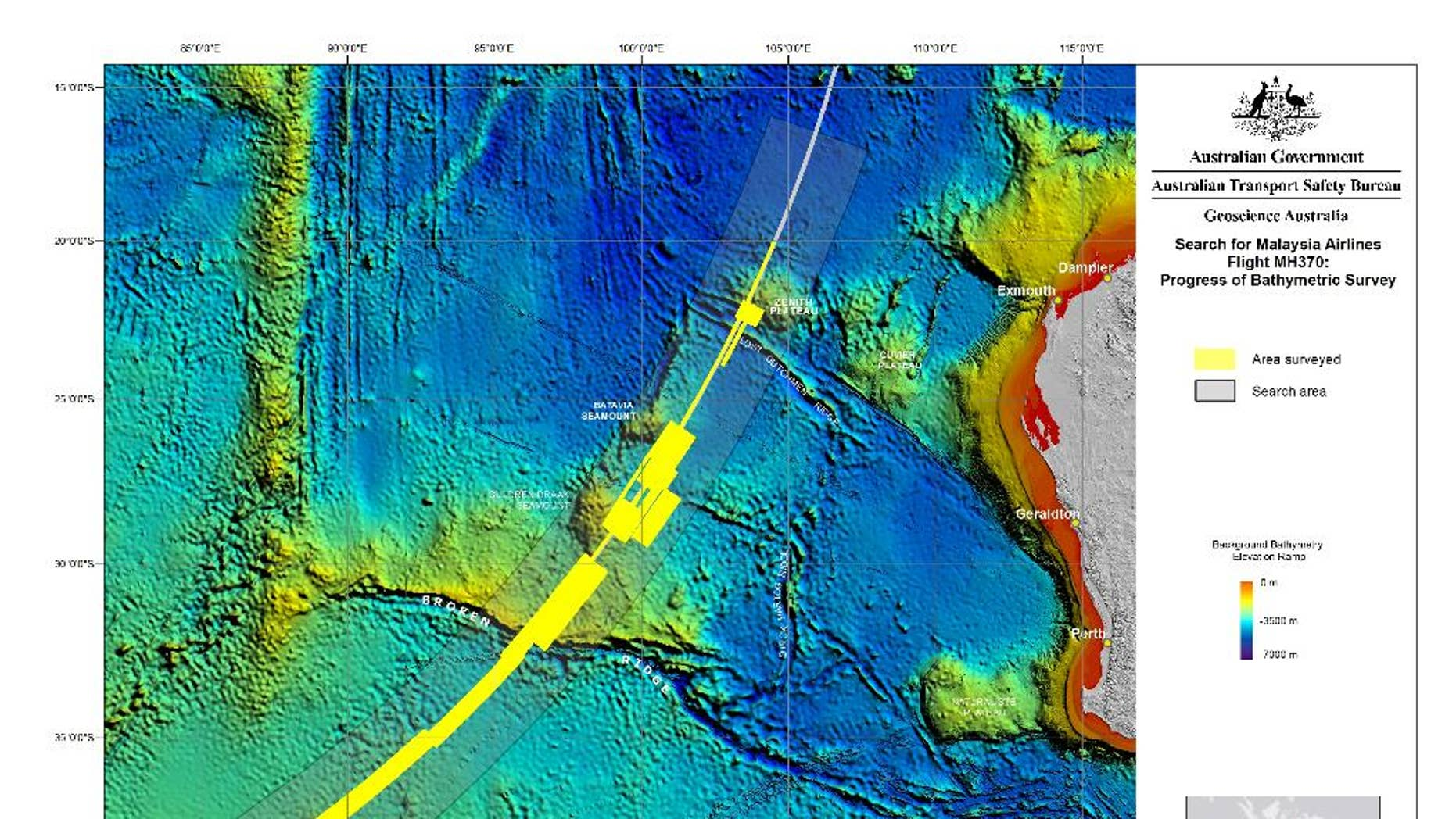 This map provided Wednesday, Oct. 22, 2014, by The Australian Transport Safety Bureau shows the area surveyed so far is marked in yellow in the search for the missing Malaysia Airlines Flight 370 in the southern Indian Ocean. The hunt for the passenger plane in a remote patch of the Indian Ocean is progressing well but will likely take many months because of the huge area involved, an Australian official said Friday, Oct. 24. Peter Foley, an Australian search coordinator, said there is optimism with two ships using high-tech sonar devices to search for the Boeing 777, which disappeared in March while flying from Kuala Lumpur to Beijing with 239 people on board. (AP Photo/The Australian Transport Safety Bureau) EDITORIAL USE ONLY