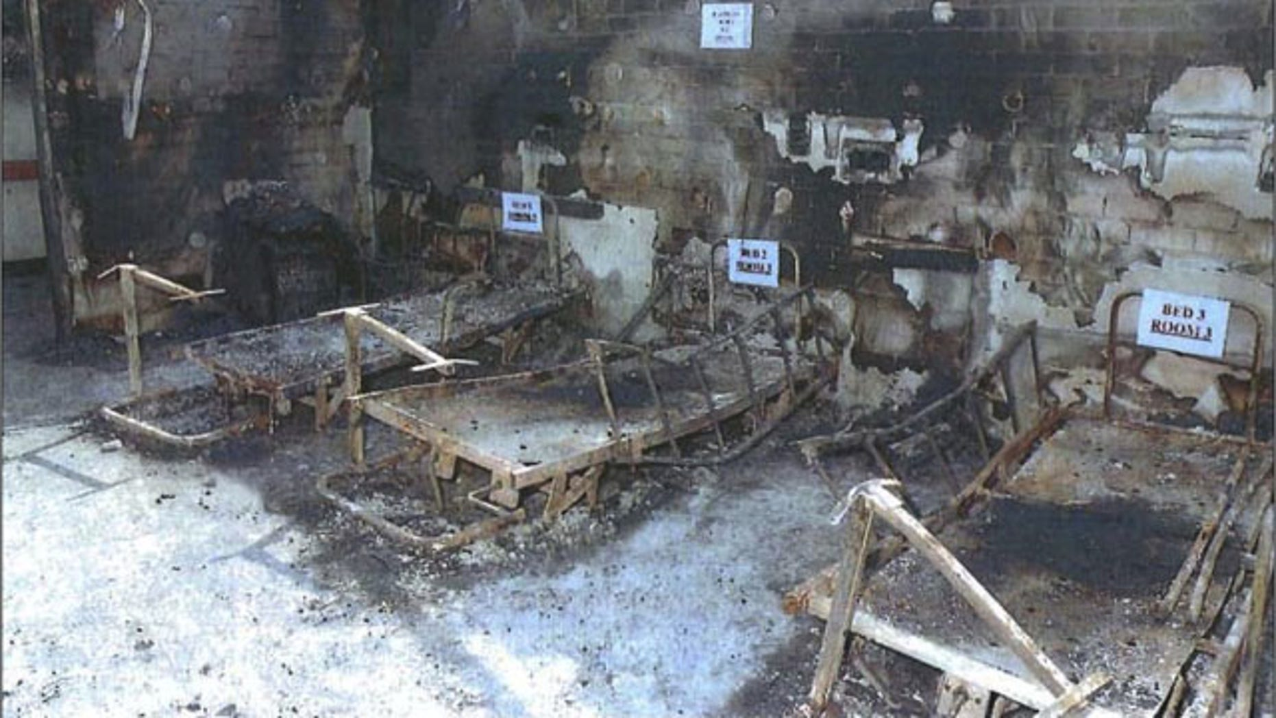 In this undated photo provided by the Office of the Director of Public Prosecutions (DPP) in Australia, evidence is labeled at the scene of a deadly nursing home fire in the Sydney suburb of Quakers Hill. (AP Photo)