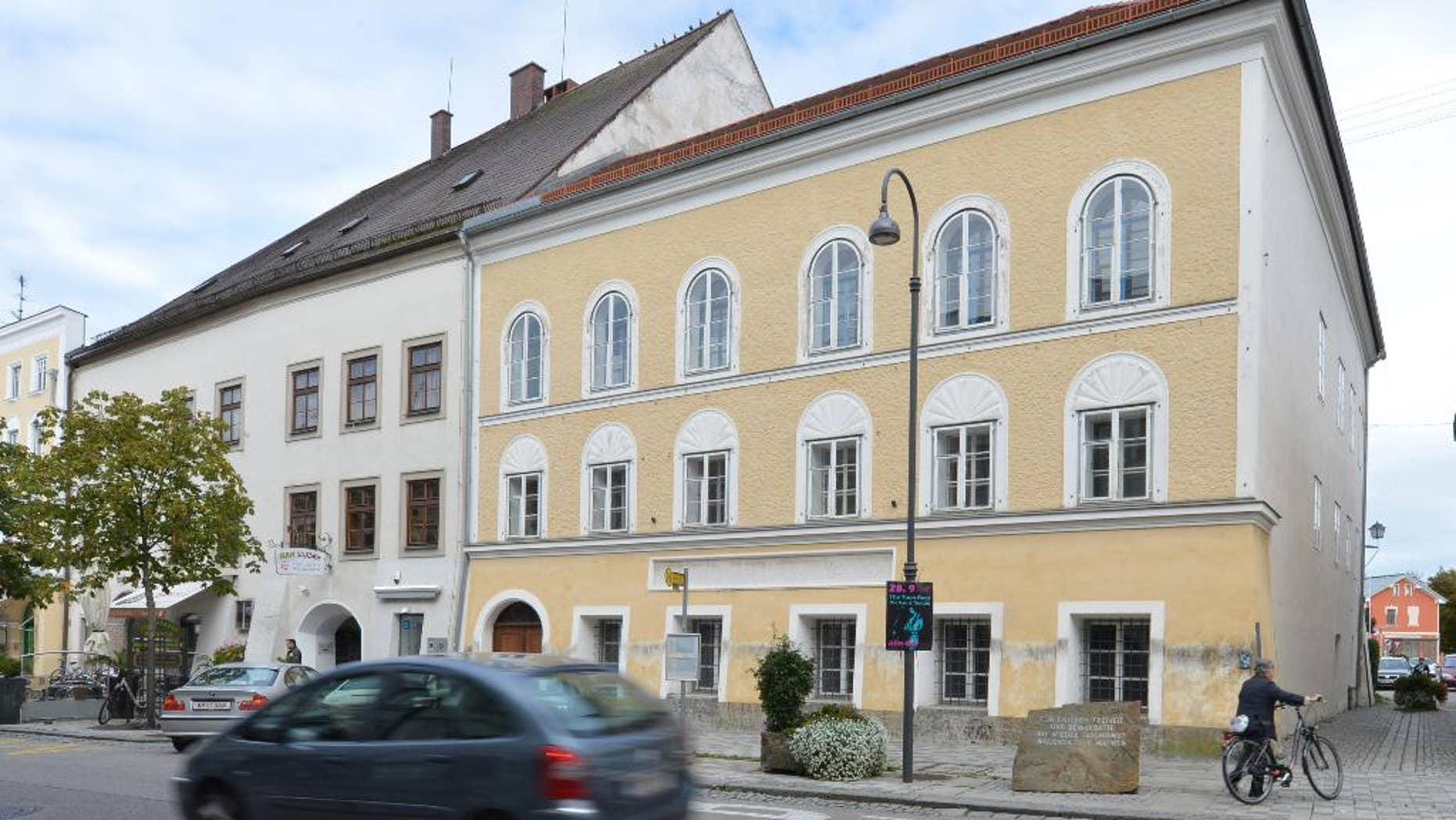 Sept. 27, 2012: This file photo shows an exterior view of Adolf Hitler's birth house in Braunau am Inn, Austria. The Austrian government is looking at options that would allow it to expropriate the house where Hitler spent his early childhood as it seeks to end a dispute with the dwelling's owner over its use, officials said.
