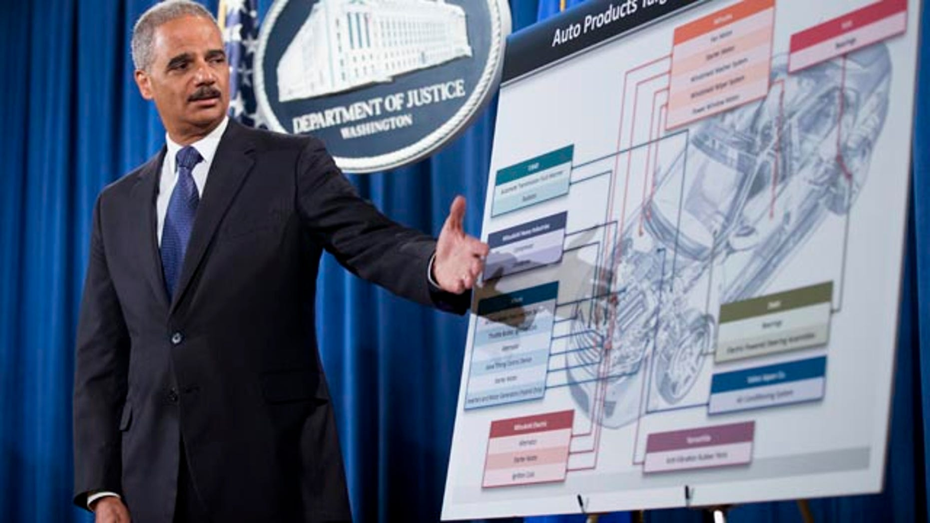 FILE - This Sept. 26, 2013 file photo shows Attorney General Eric Holder pointing to an illustrations of the auto parts during a news conference at the Justice Department in Washington. (AP Photo/Manuel Balce Ceneta, File)