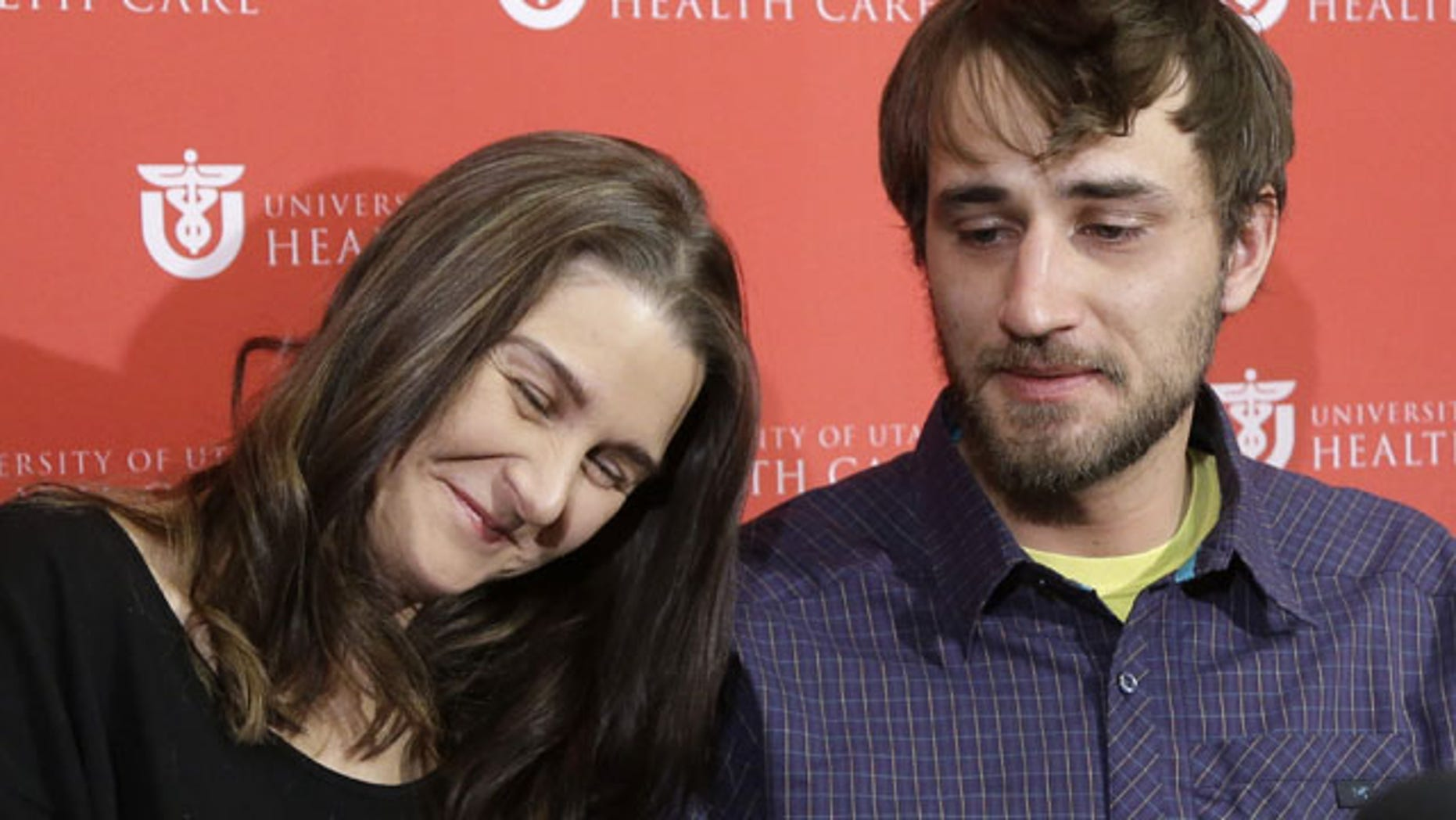Jan. 16, 2013: Avalanche survivor, Elisabeth Malloy and skiing partner and initial rescuer Adam Morrey discuss their avalanche ordeal during a news conference at the University of Utah Health Care's Burn Center.