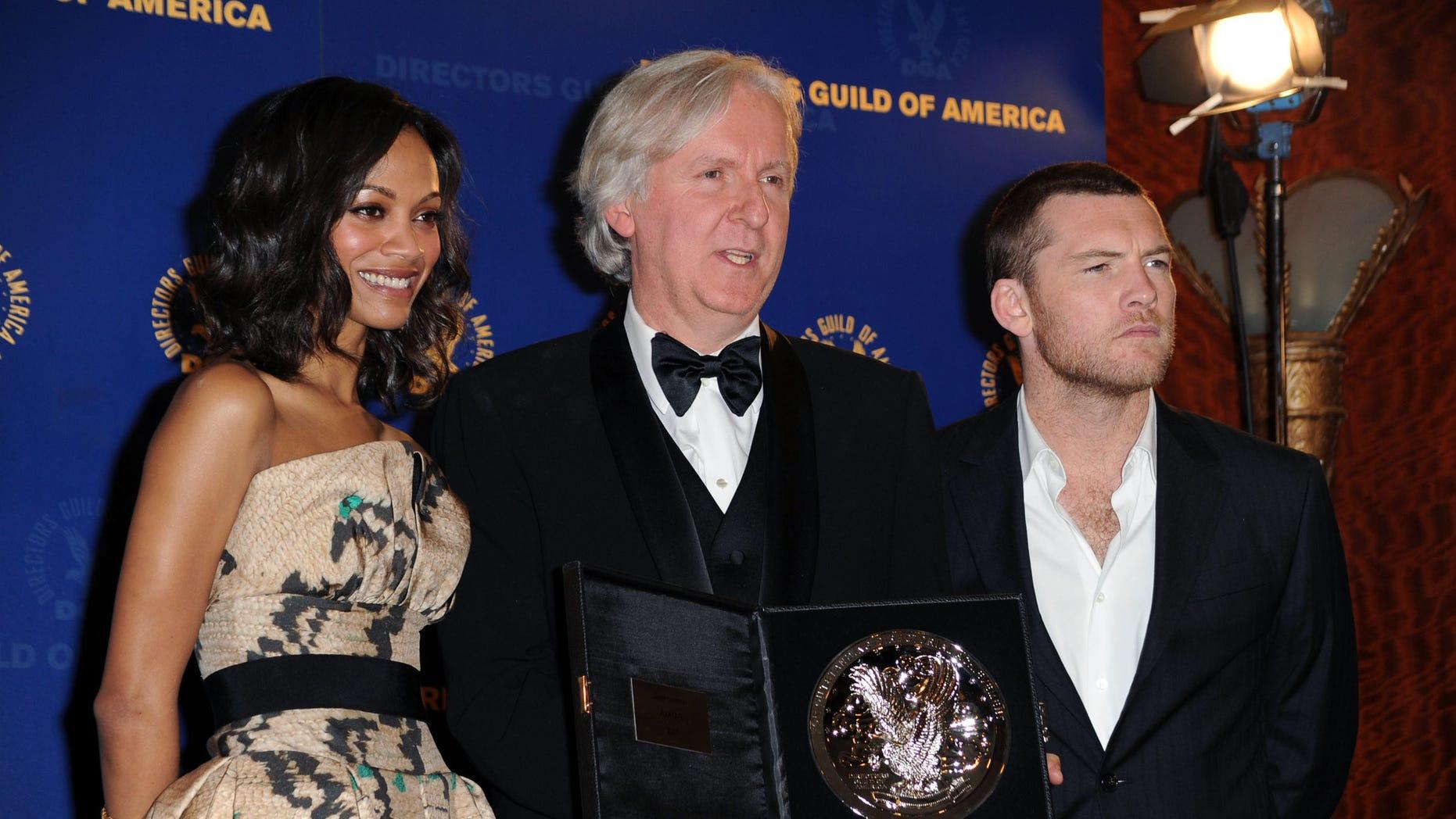 Zoe Saldana, James Cameron and Sam Worthington on January 30, 2010 in Century City, California.