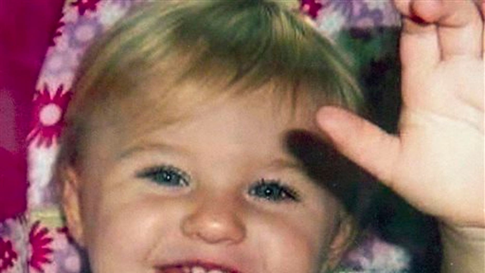 This undated file photo provided by Trista Reynolds shows Ayla Reynolds, her 2-year-old daughter, who went missing in December 2011 from her father's home in Waterville, Maine.
