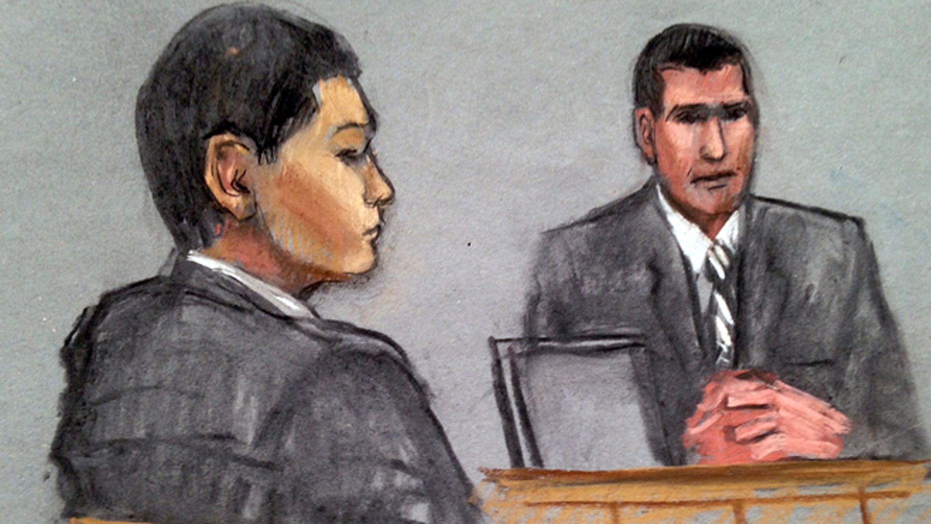 July 7, 2014: In this courtroom sketch, defendant Azamat Tazhayakov, left, a college friend of Boston Marathon bombing suspect Dzhokhar Tsarnaev, is depicted listening to testimony by FBI Special Agent Phil Christiana, right, during the first day of his federal obstruction of justice trial in Boston. Tazhayakov, of Kazakhstan, is accused with another friend of removing items from Tsarnaev's dorm room, but is not charged with participating in the bombing or knowing about it in advance.