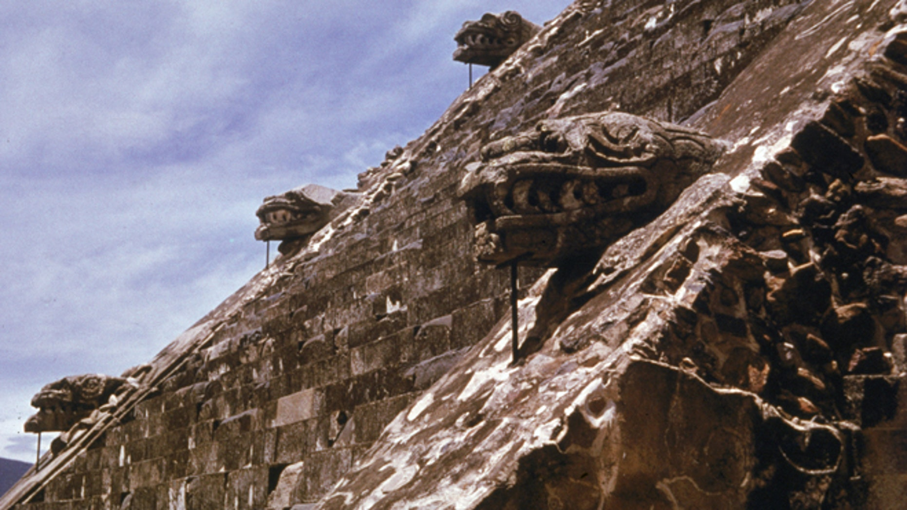Detail of figures on the Temple of Quetzalcoatl at Teotihuacan, near Mexico City, Mexico, c. 1980.