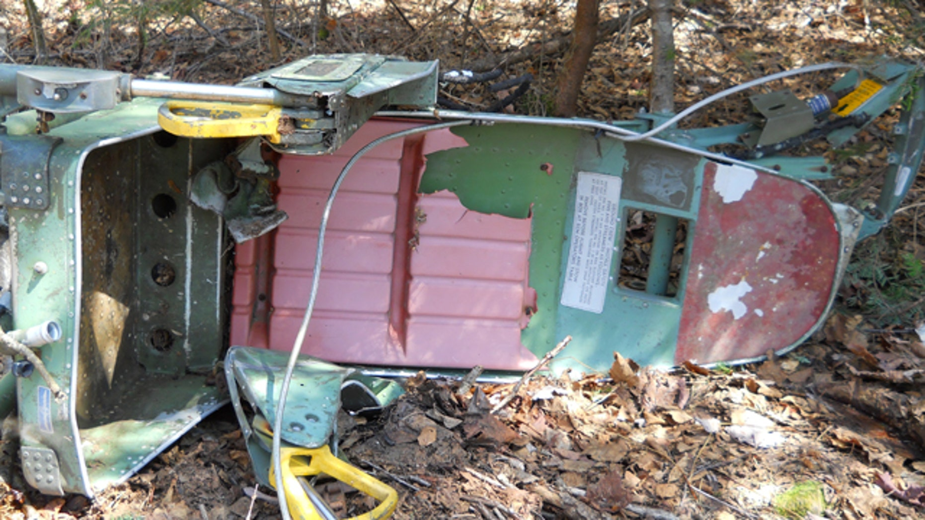 May 17, 2012: A photo provided by the Maine Forest Service shows a B-52 bomber ejection seat found by Forest Ranger Bruce Reed near Greenville, Maine.