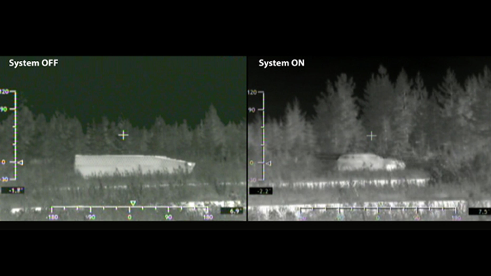 """Cloaking technology from BAE makes a tank (left) show up on radar screens in disguise (right). It's one of many """"invisibility cloaks"""" being developed."""