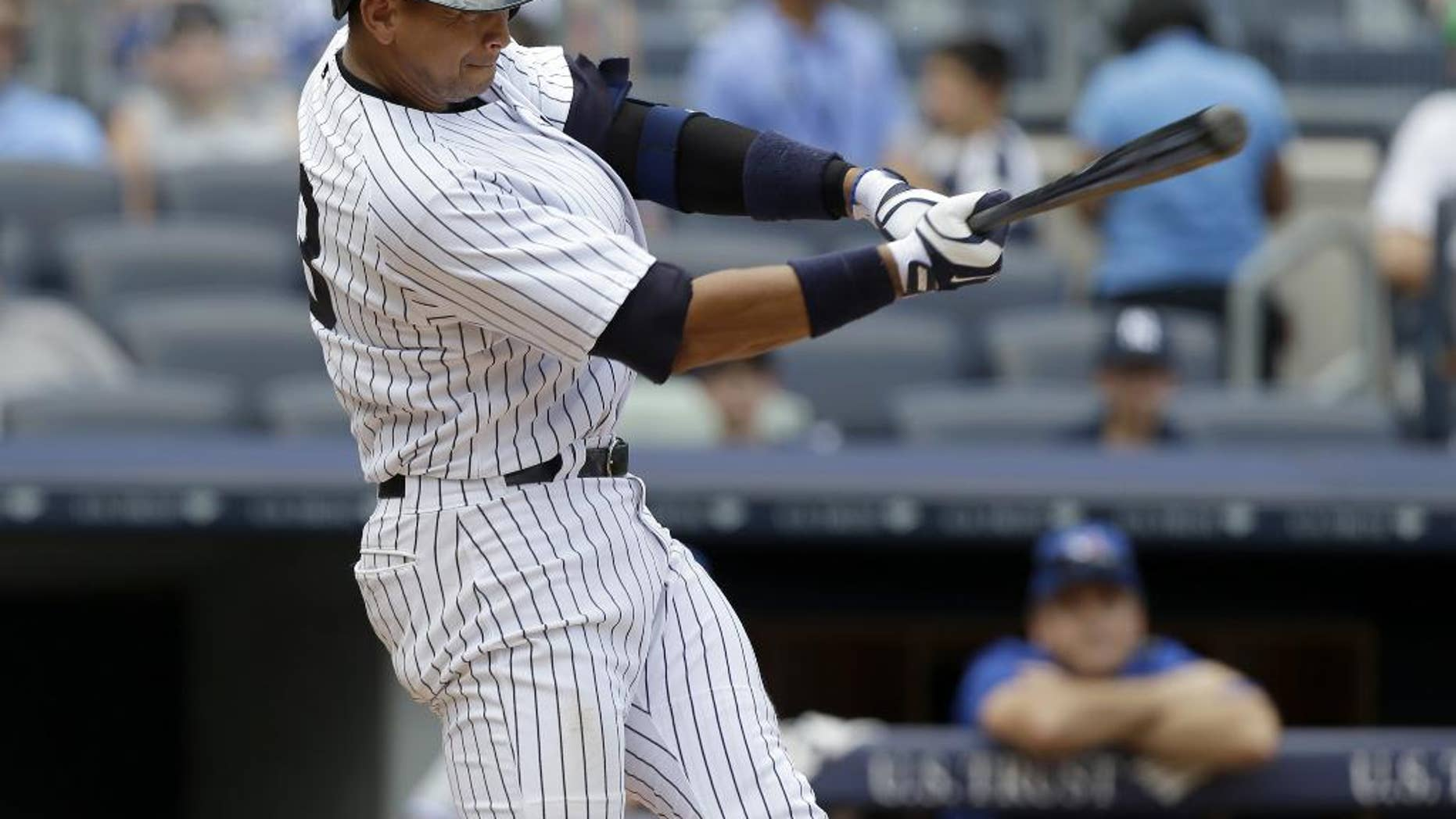 FILE - In a Aug. 20, 2013 file photo, New York Yankees' Alex Rodriguez singles during the sixth inning of the baseball game against the Toronto Blue Jays at Yankee Stadium in New York. Zack Greinke and the Los Angeles Dodgers have knocked Rodriguez and the New York Yankees off baseball's payroll perch. The Dodgers as of Tuesday, March 25, 2014 had a projected payroll of $235 million, according to study of all major league contracts by The Associated Press.(AP Photo/Seth Wenig, File)
