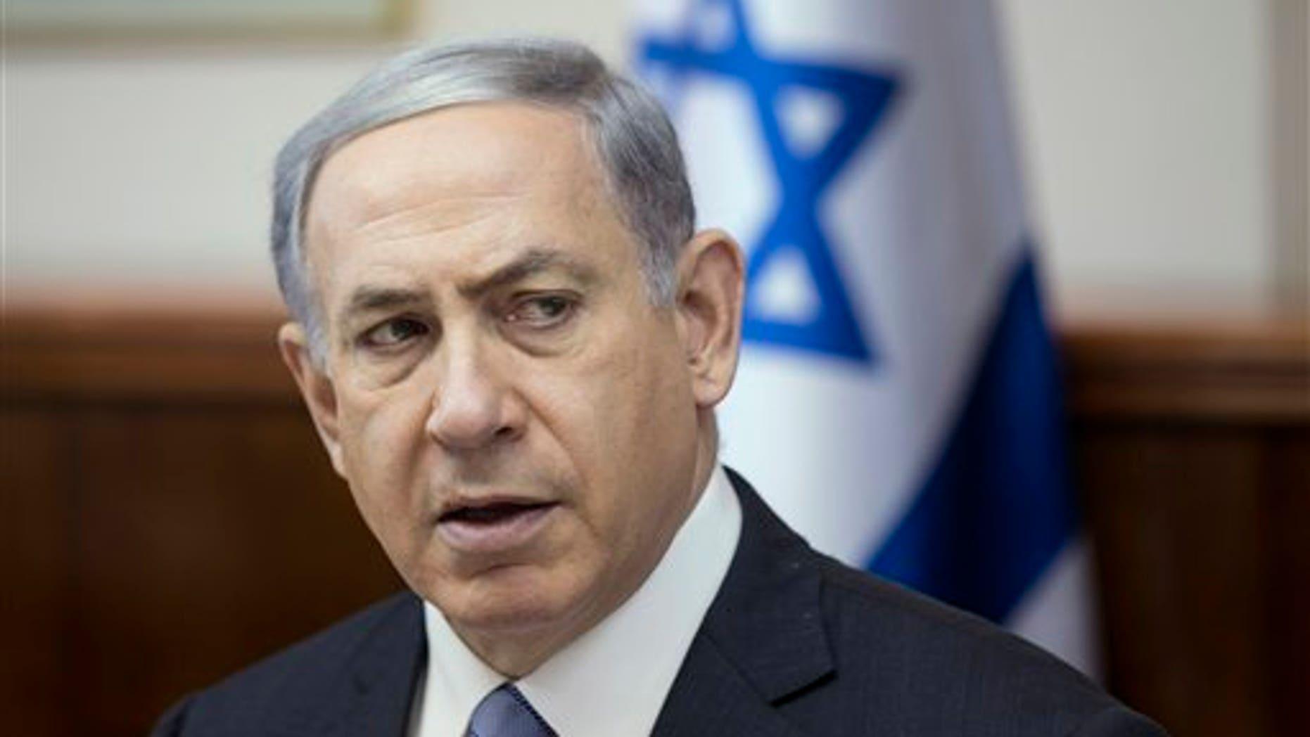 Israel's Prime Minister Benjamin Netanyahu speaks during the weekly cabinet meeting in Jerusalem, Sunday, July 5, 2015. (Baz Ratner/Pool Photo via AP)