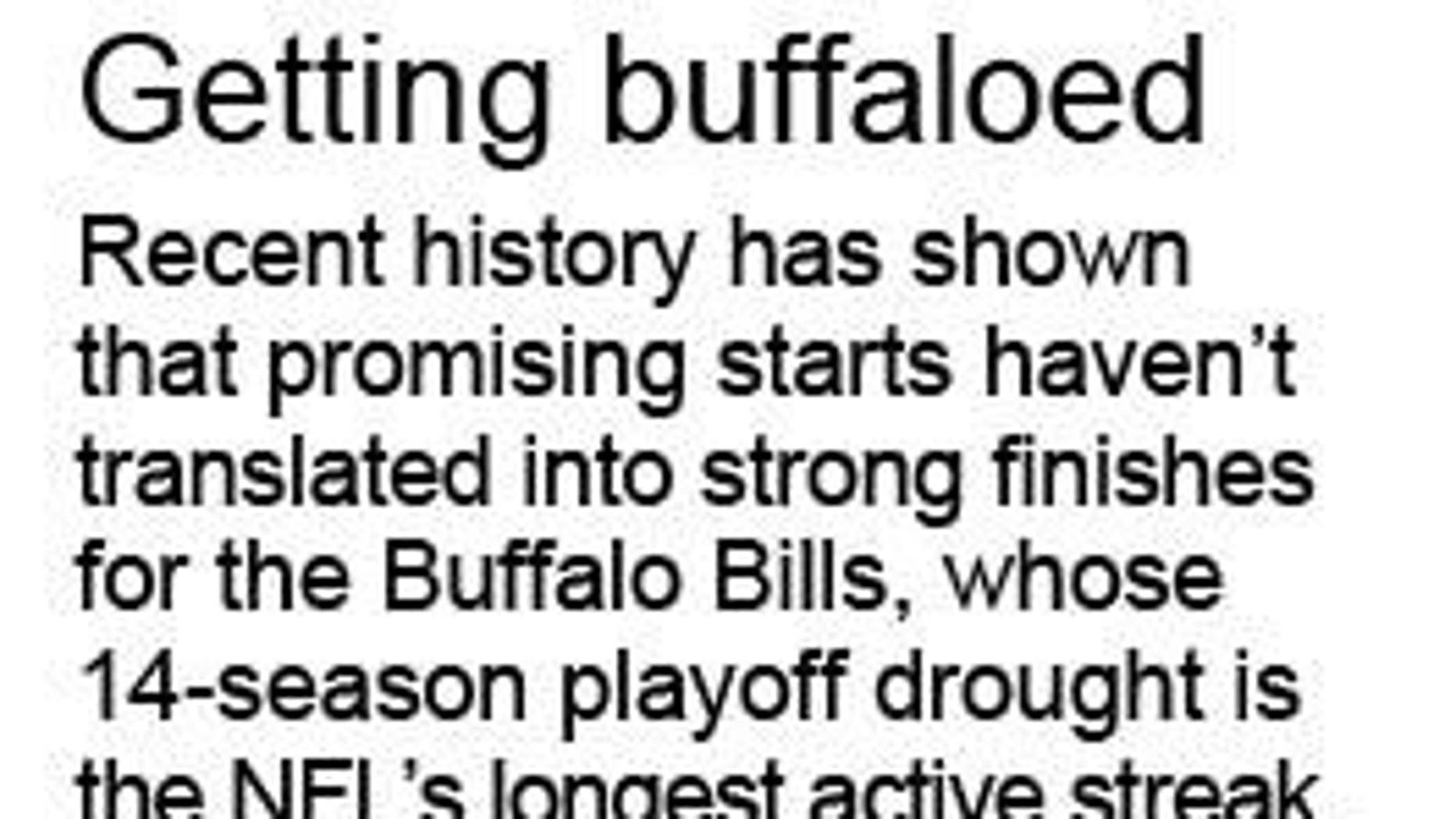 Graphic looks at the Buffalo Bills longest active playoff drought; 1c x 6 inches; 46.5 mm x 152 mm;