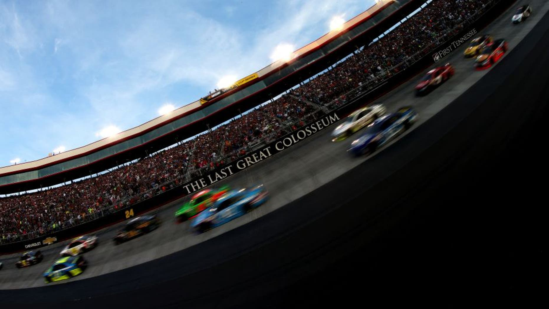 BRISTOL, TN - AUGUST 22: Cars race during the NASCAR Sprint Cup Series IRWIN Tools Night Race at Bristol Motor Speedway on August 22, 2015 in Bristol, Tennessee. (Photo by Sean Gardner/Getty Images)